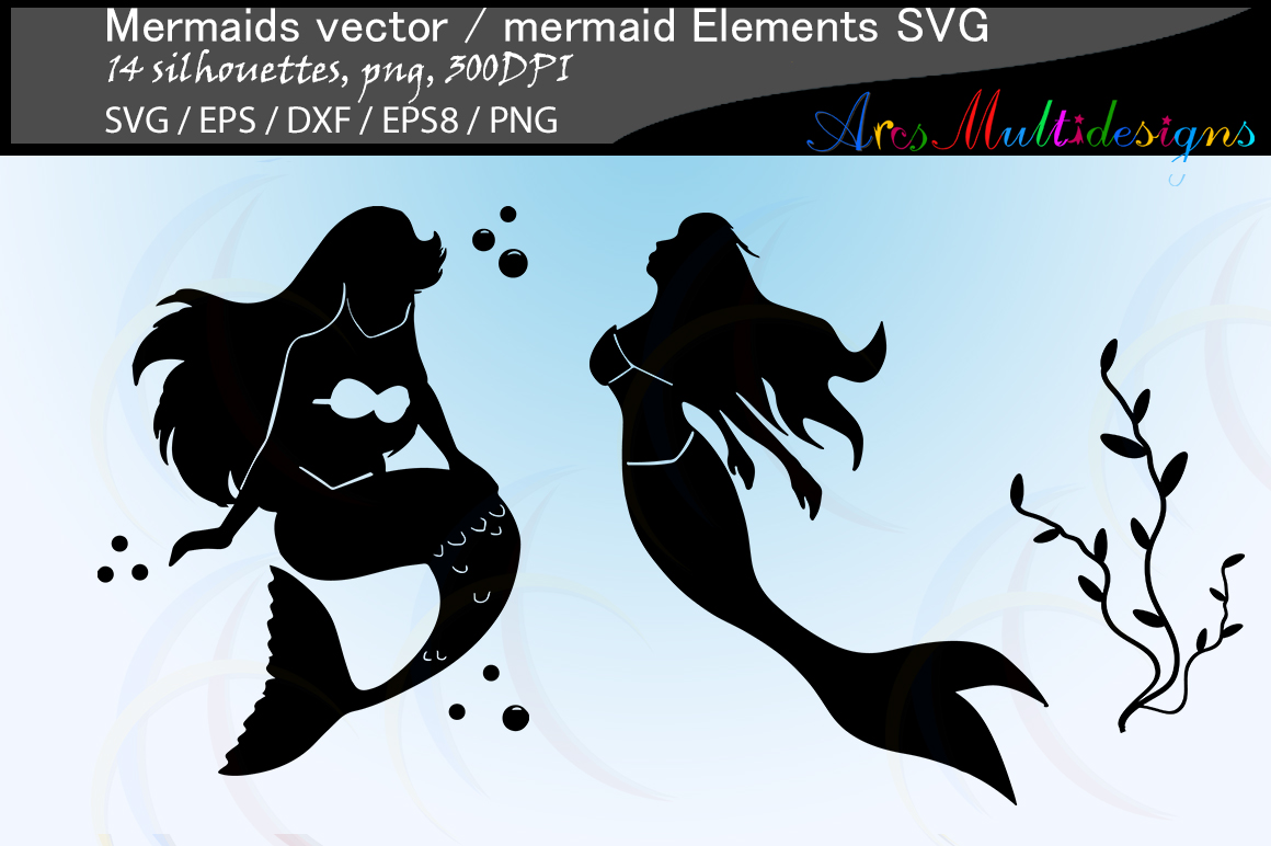 Mermaid silhouette / water girls / High Quality / beauty girl silhouette / mermaid vector / mermaid vector / EPS / PNG / SVG / DXf / mermaid elements example image 2