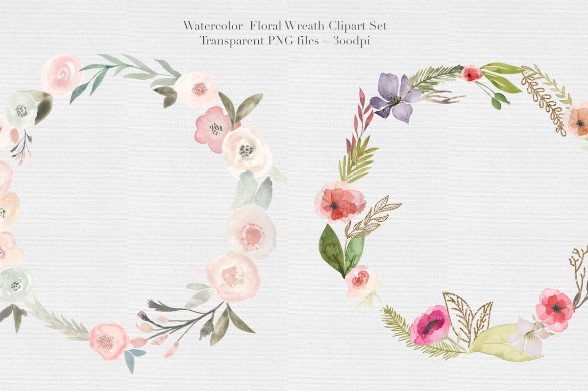 Watercolor Floral Wreaths Vol.1 example image 2