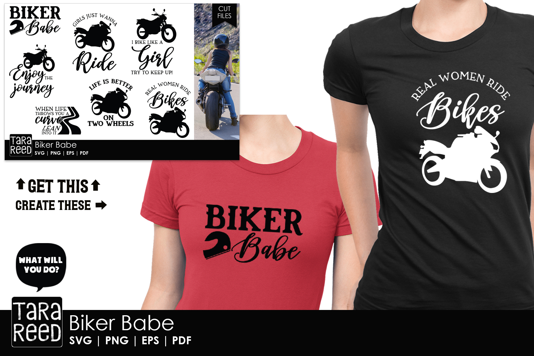 Biker Babe - Motorcycle SVG and Cut Files for Crafters example image 2