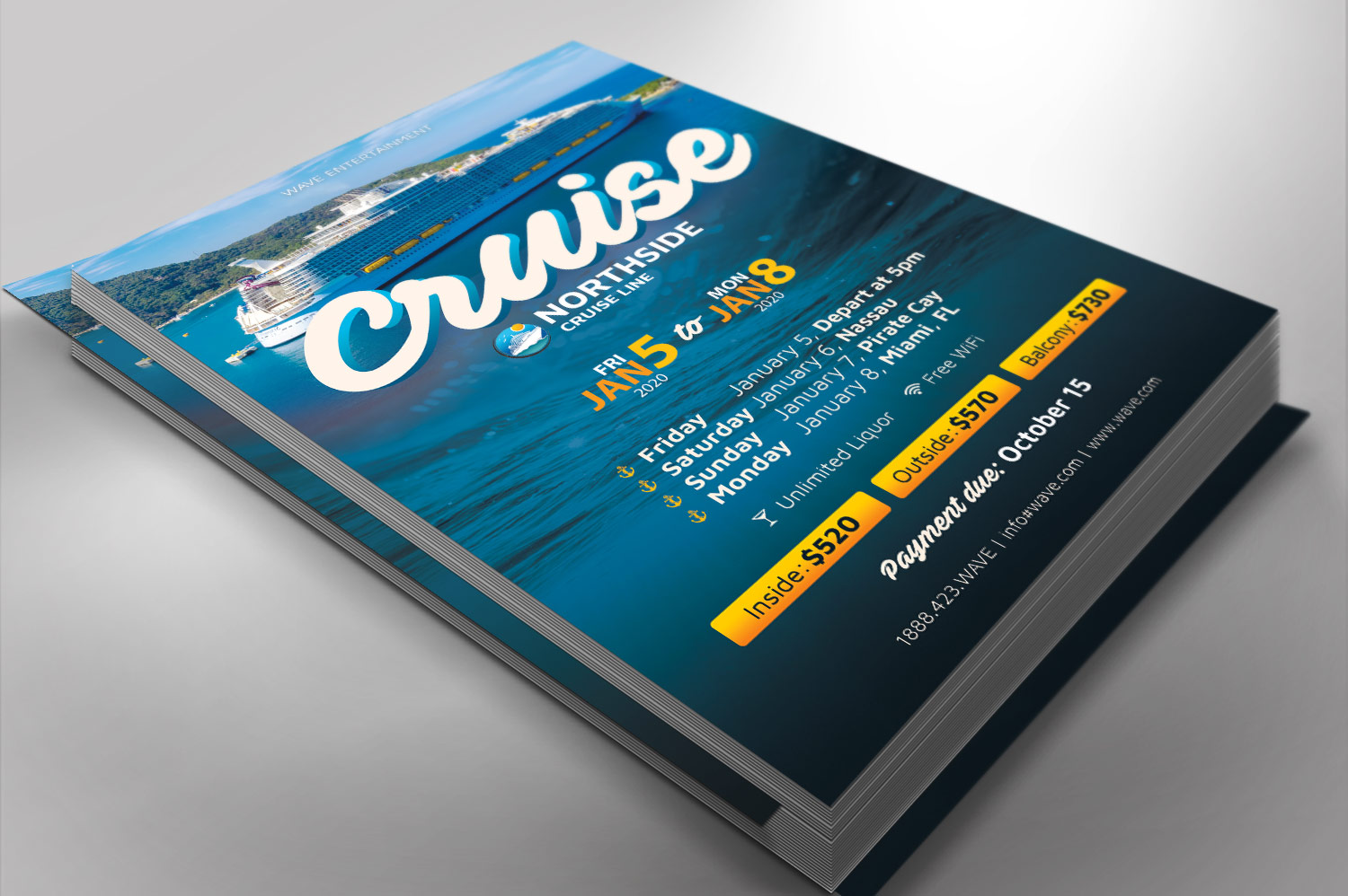 Cruise Travel Flyer Photoshop Template example image 3