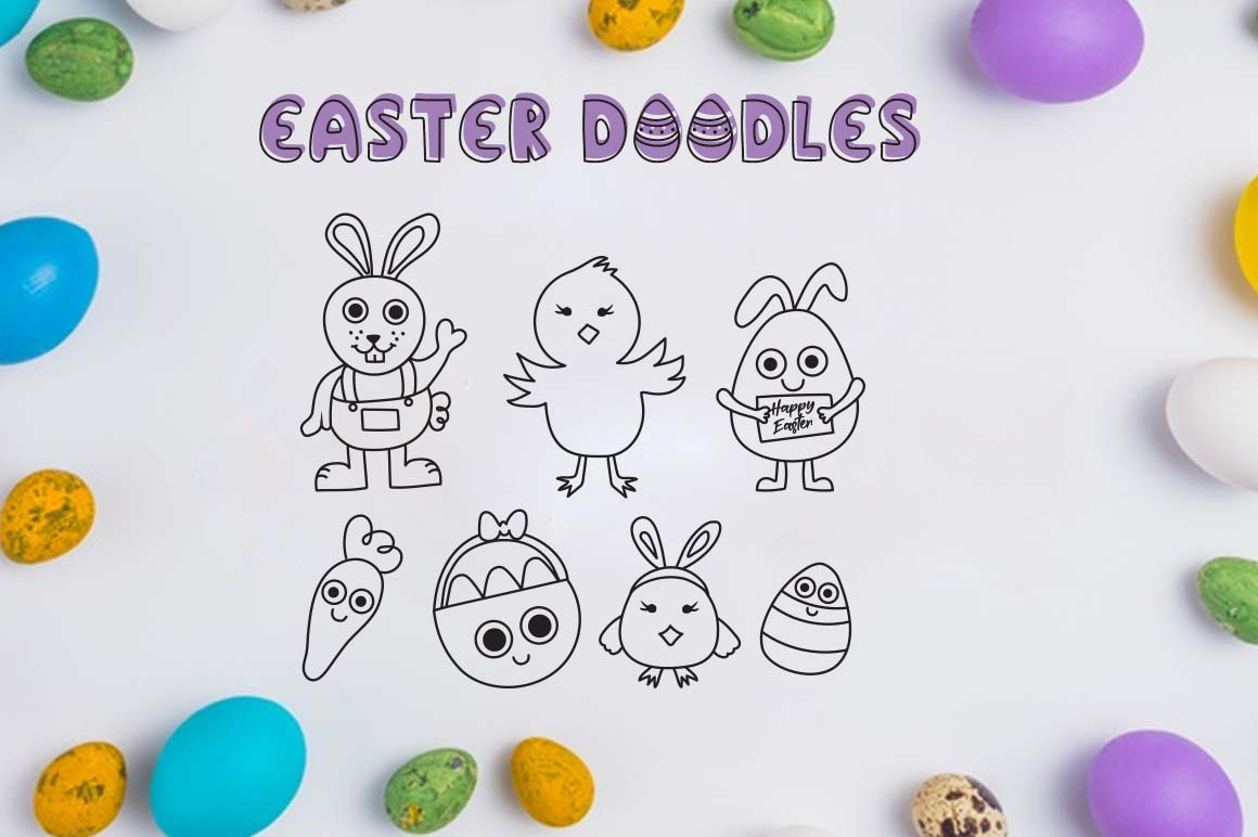 Little bunny font with easter doodles example image 5