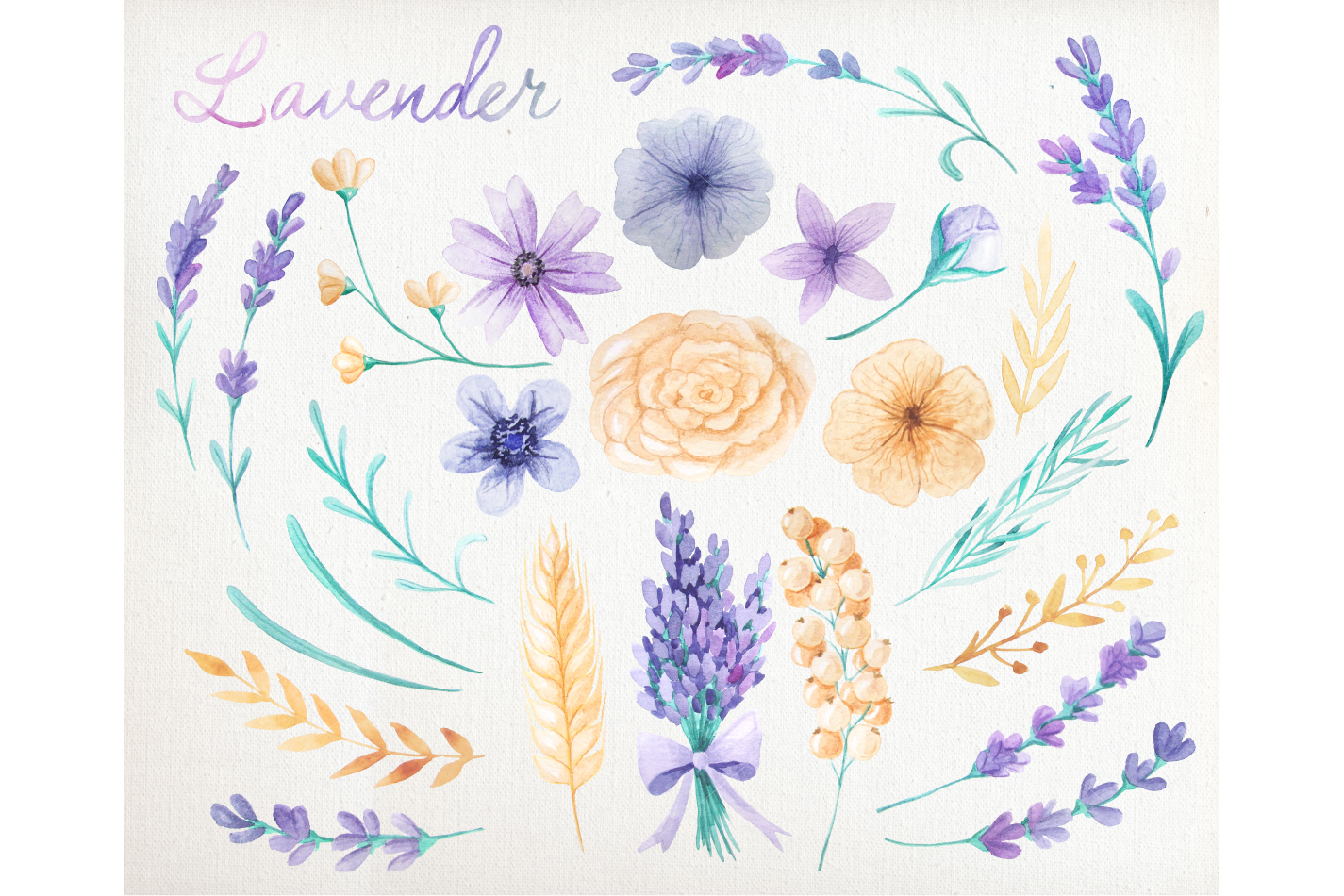 Watercolor Lavender Design Pack example image 2