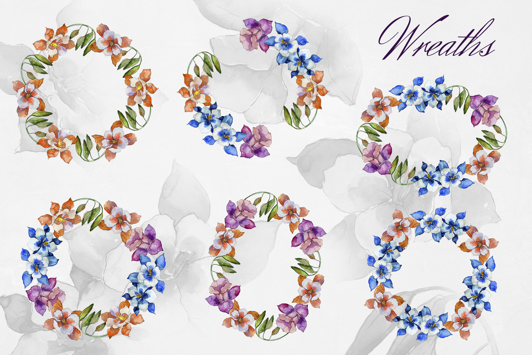 Aquilegia flowers velvet season watercolor png PNG example image 3