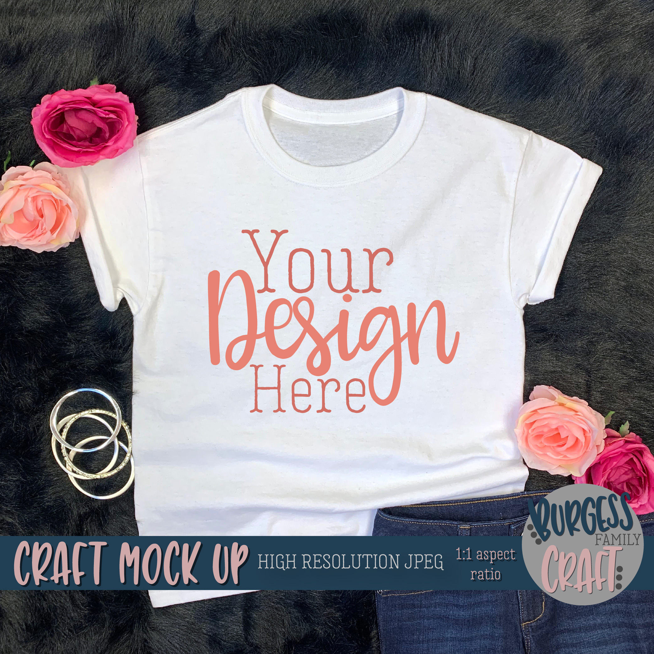 Youth Shirt Pretty w/Jeans Craft mock up | High Res JPEG example image 2