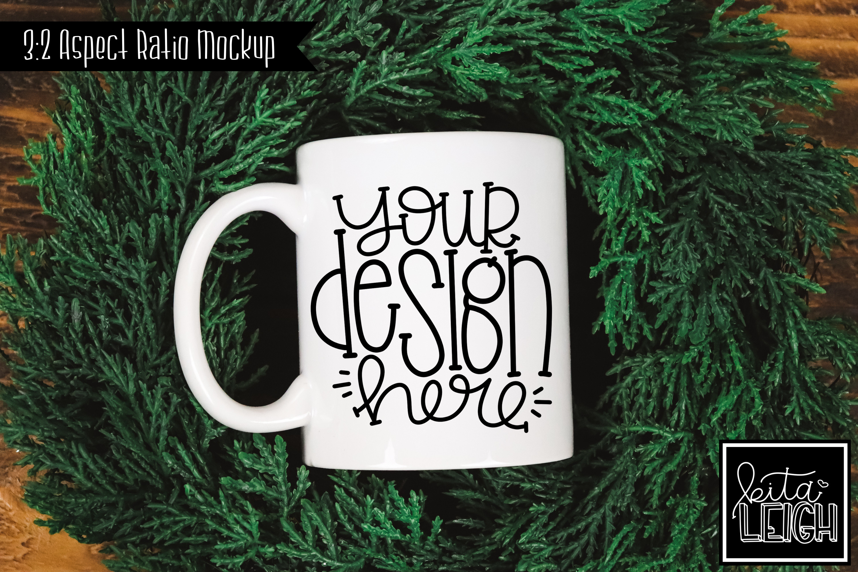 11 oz Mug Mockup with Wreath example image 1