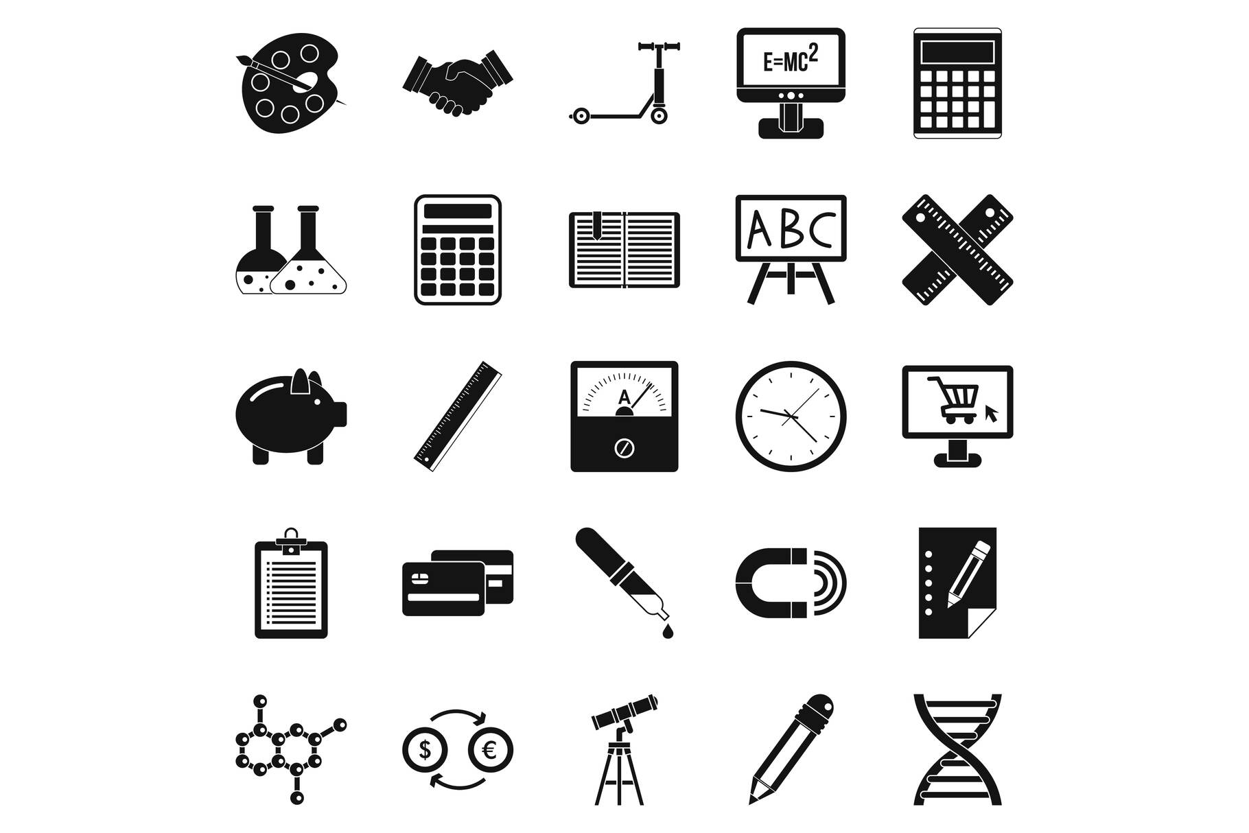 Numerator icons set, simple style example image 1