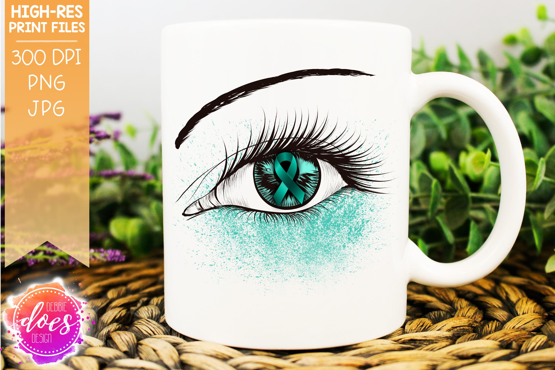 Teal/Mint Awareness Ribbon Eye Printable Design example image 1