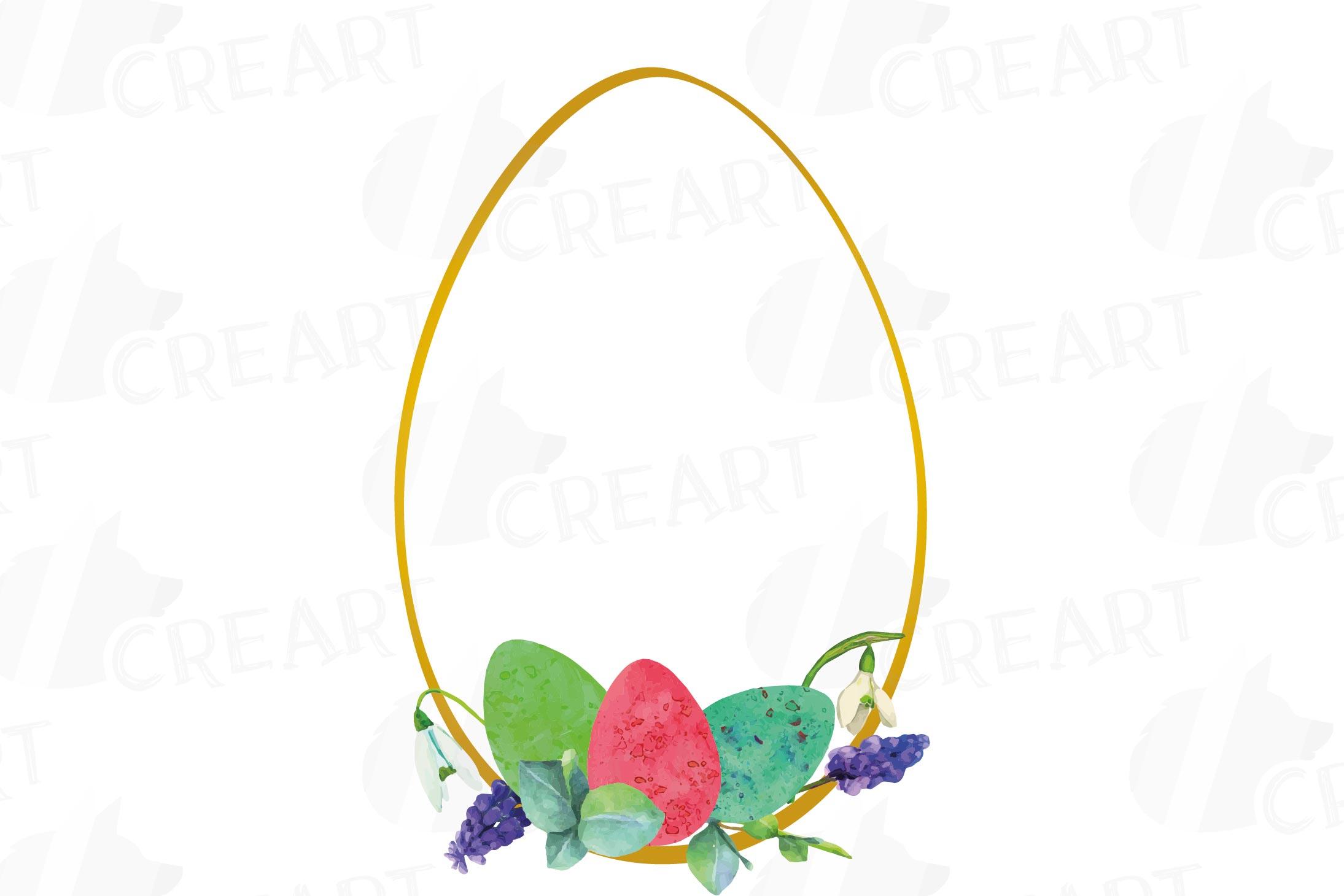 Easter golden watercolor floral frames, floral frames example image 5