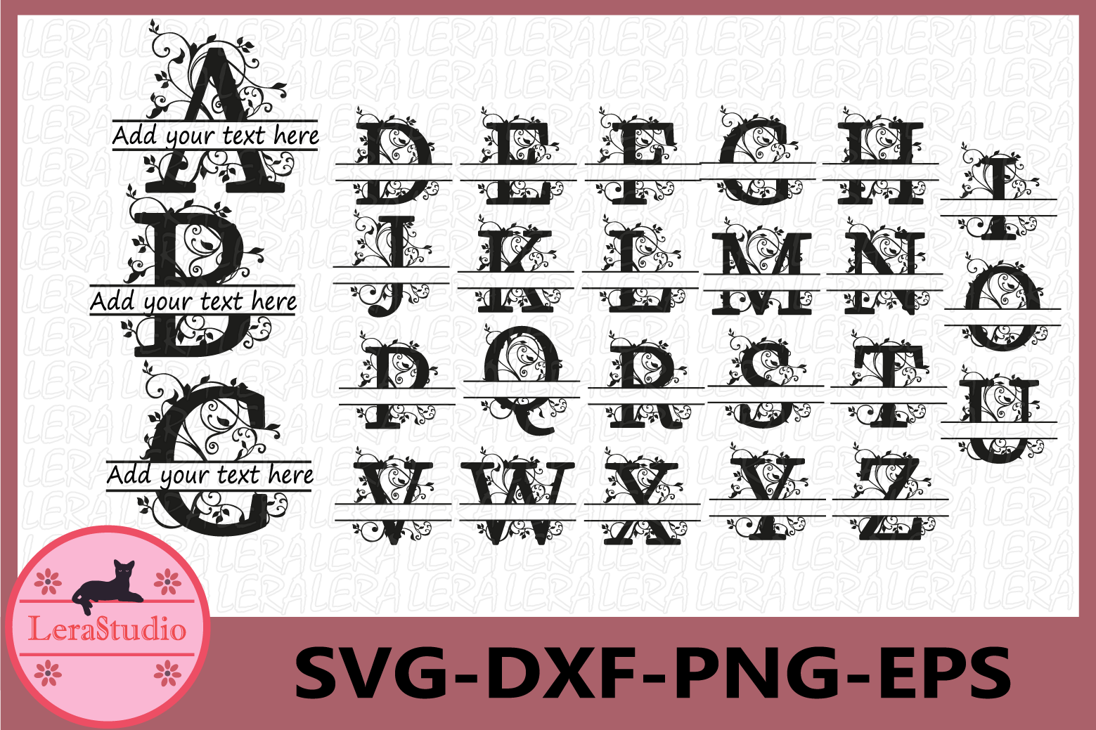 Alphabet Svg, Split Letter Monogram, Alphabet Split Monogram example image 1