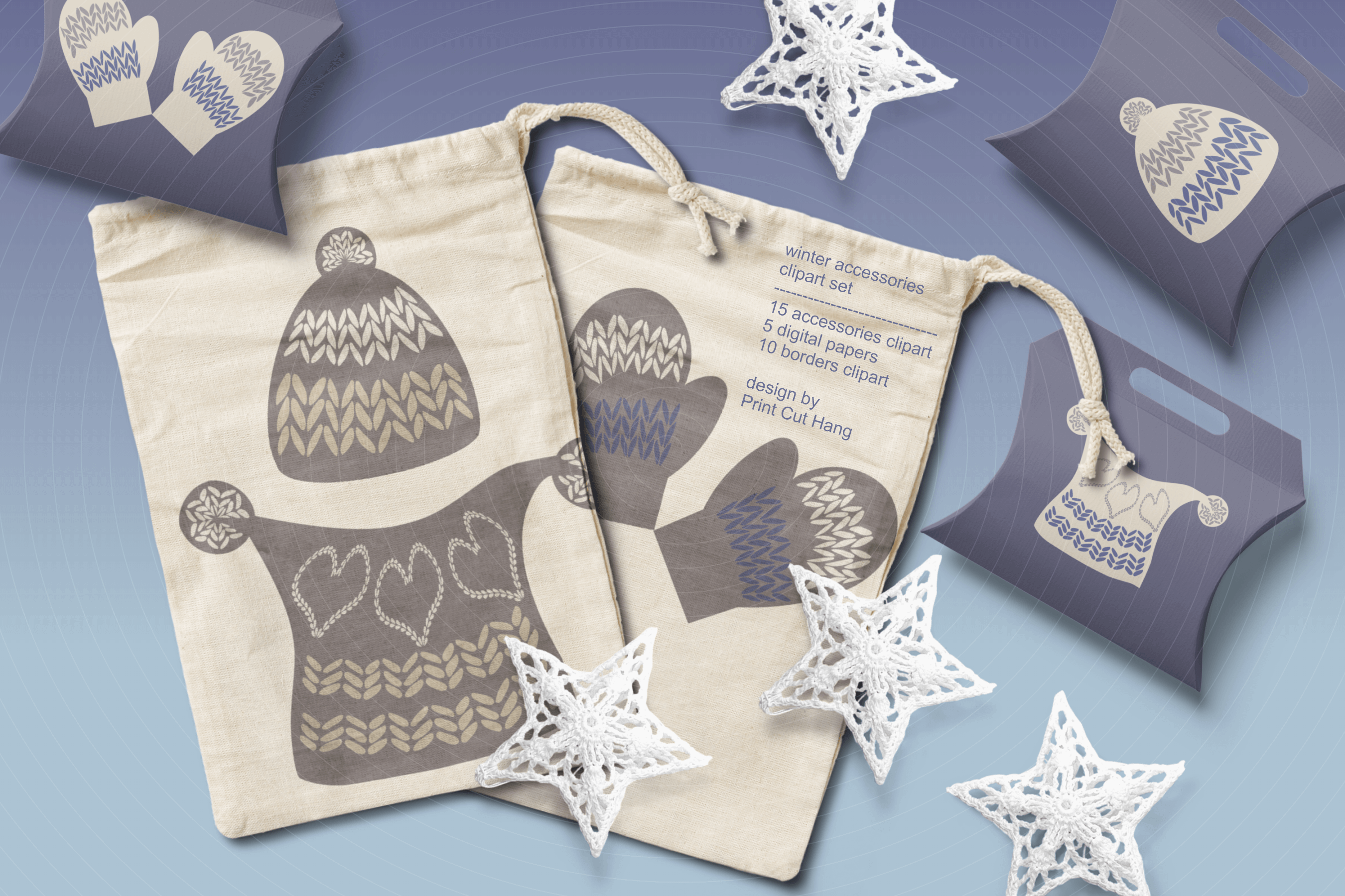 Winter Knitted Accessories Clipart & Scrapbooking Papers Set example image 8