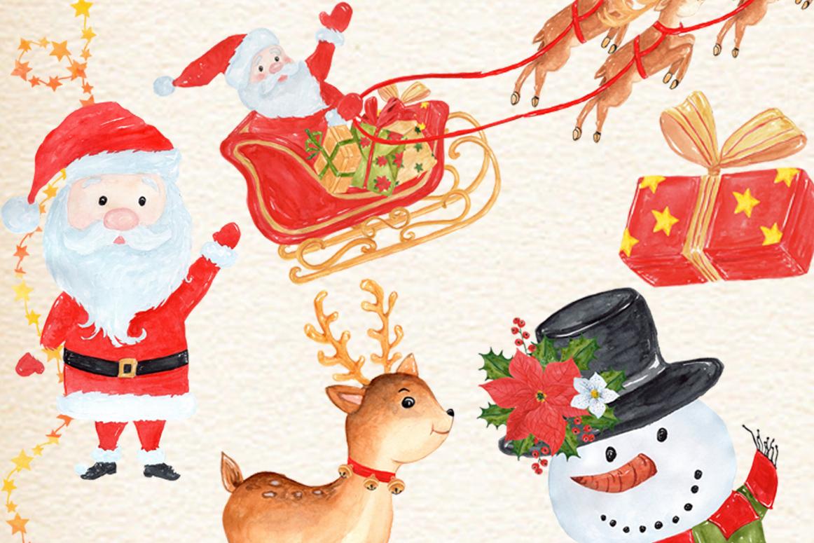 Bundle Watercolor Christmas Kids Clipart example image 11