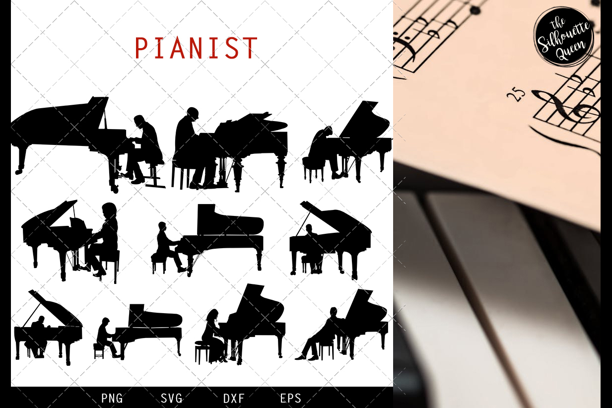 Pianist svg file, musician svg cut file, silhouette studio example image 1