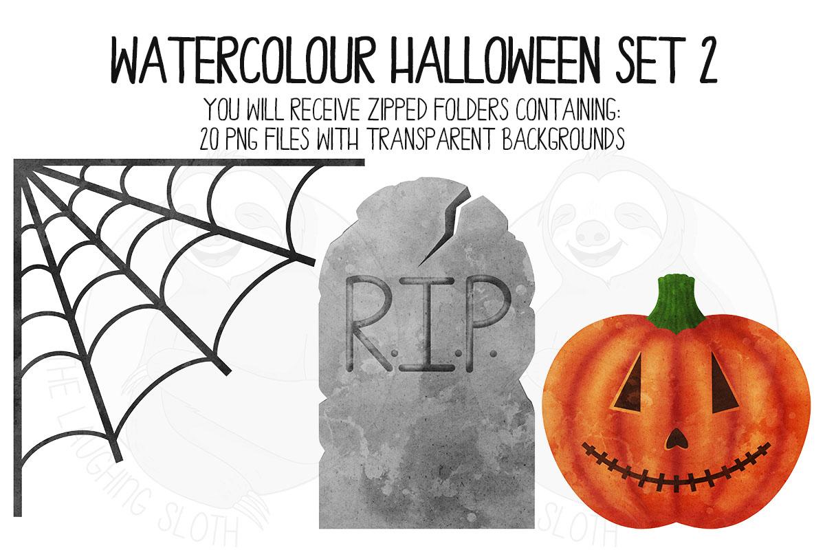 Watercolor Halloween Clip Art Set 2 example image 6