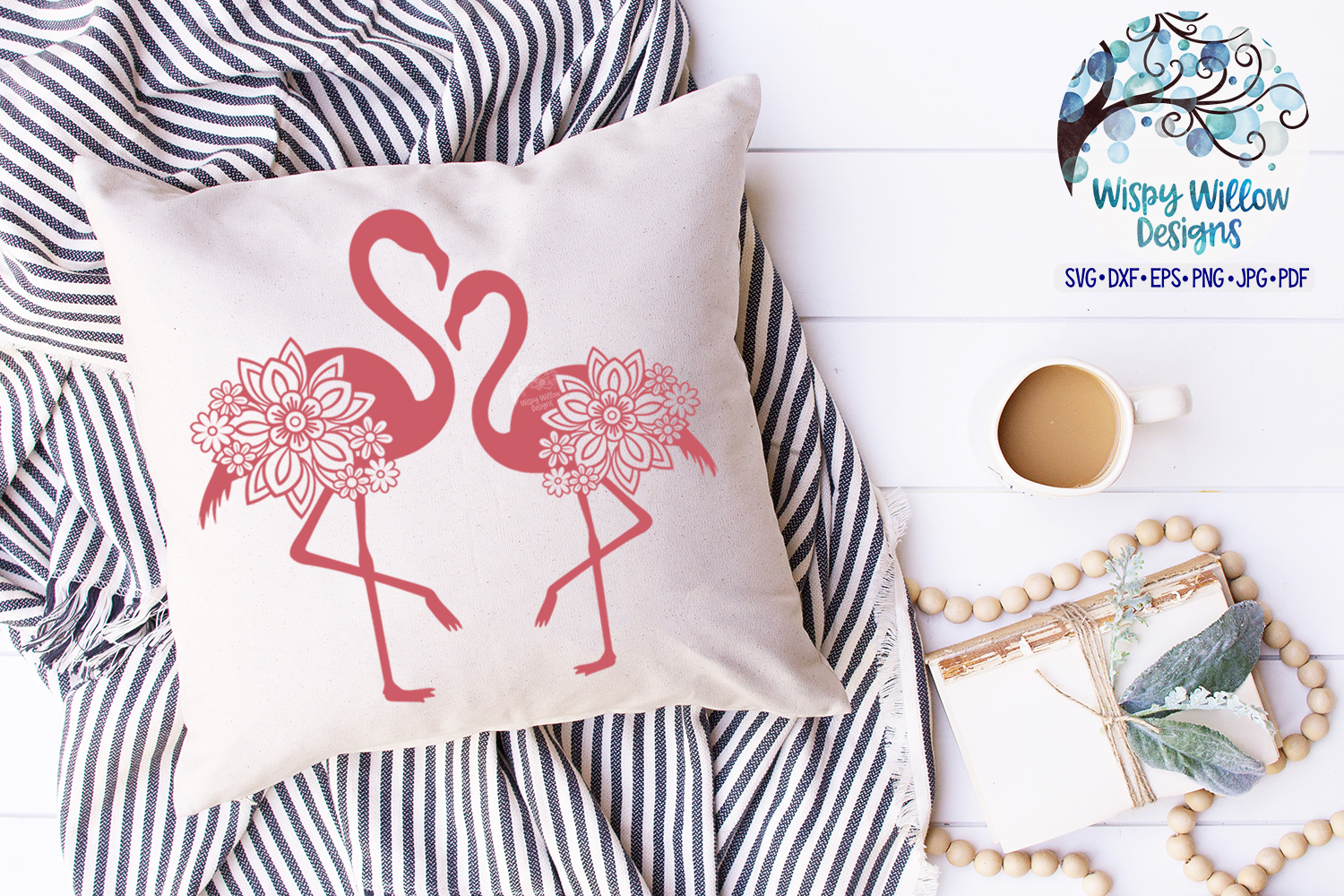 Double Floral Flamingo SVG Cut File | Summer SVG example image 2