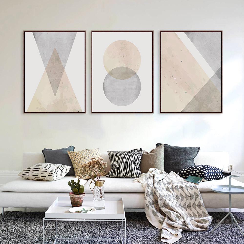 Geometric Wall Art, Set of 3 Prints, Pink and Grey Wall Art example image 2