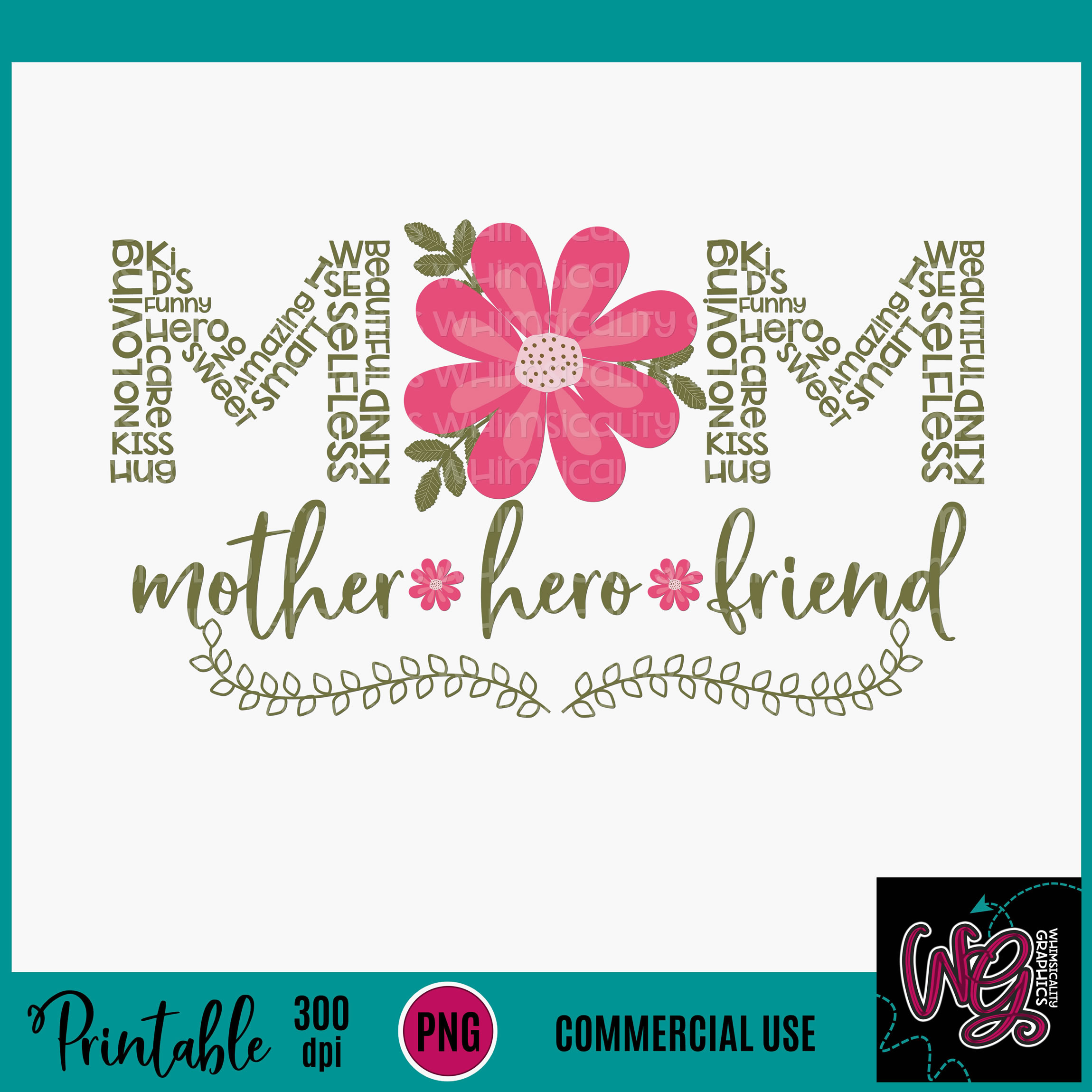 Mom Mother Hero Friend Sublimation Printable example image 2