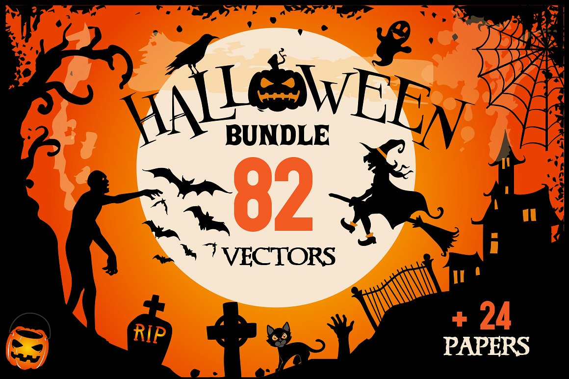 Halloween Clipart bundle 82 elements Eps and PNG example image 1
