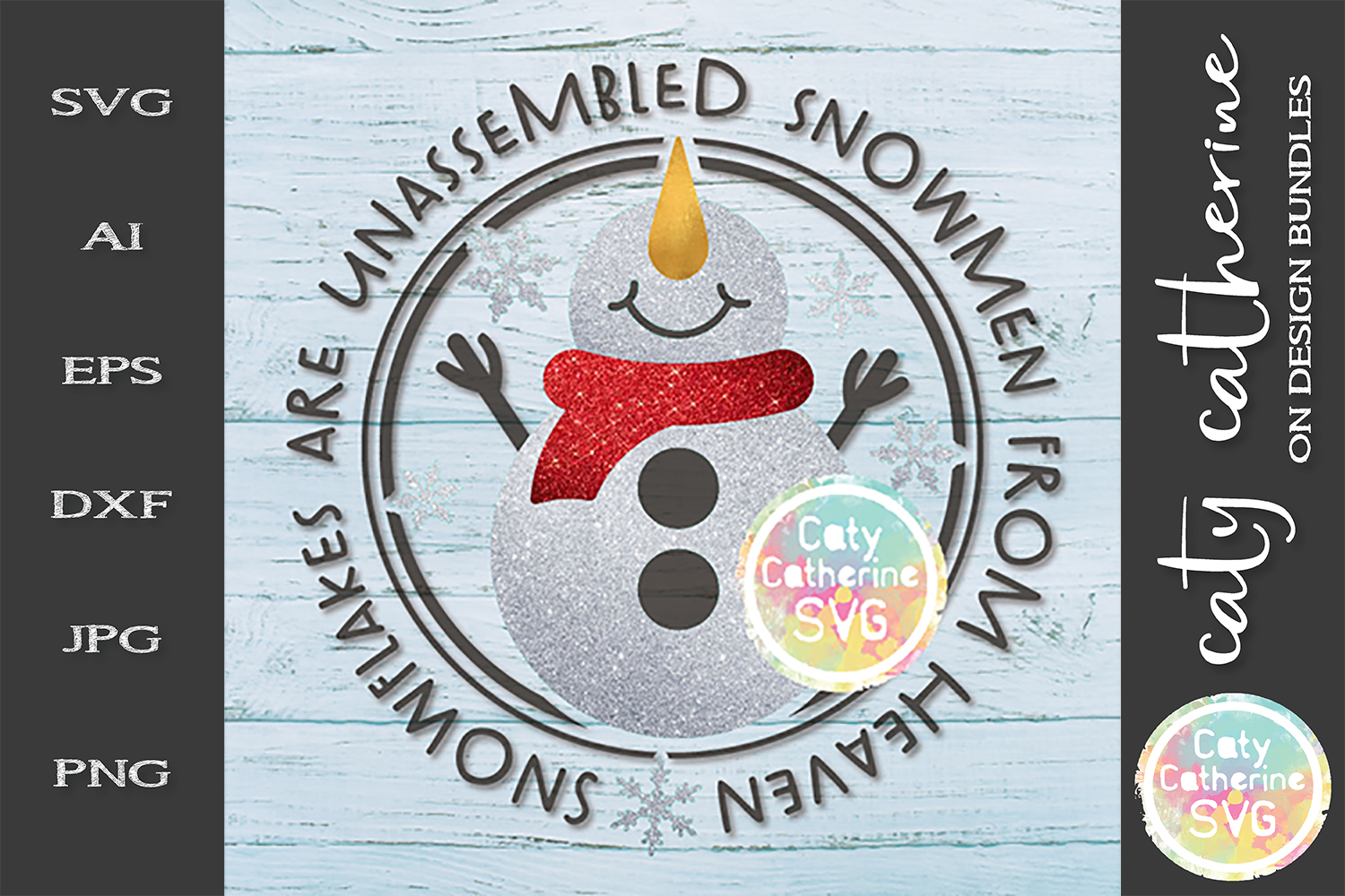 Snowflakes Are Unassembled Snowmen From Heaven SVG Cut File example image 1