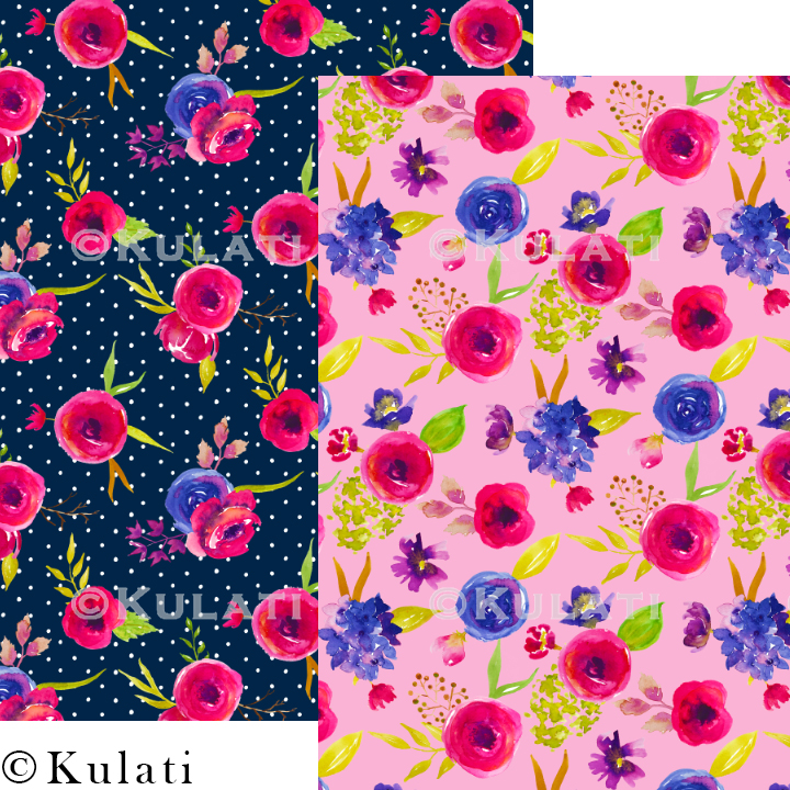 Bohemian Summer Watercolor Floral Patterns example image 4
