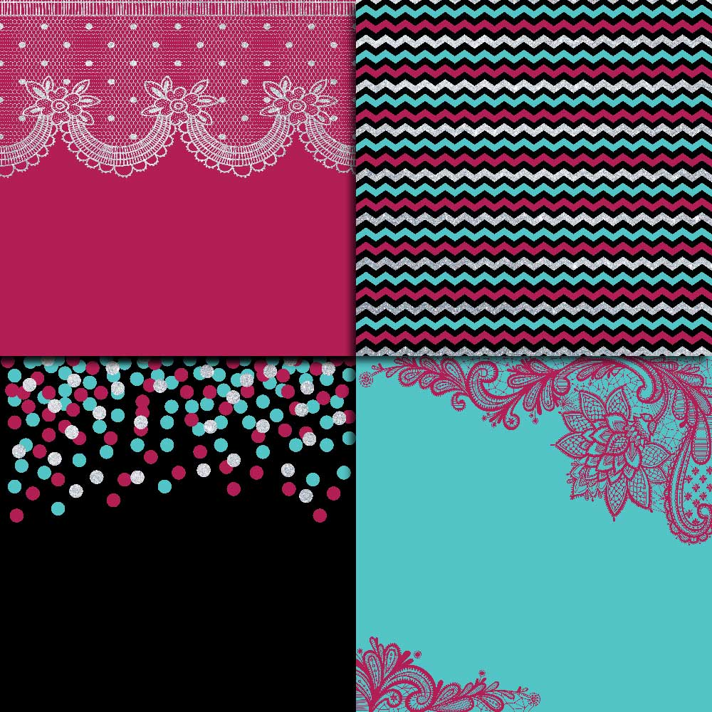 Fuchsia Teal & Silver Digital Paper example image 4