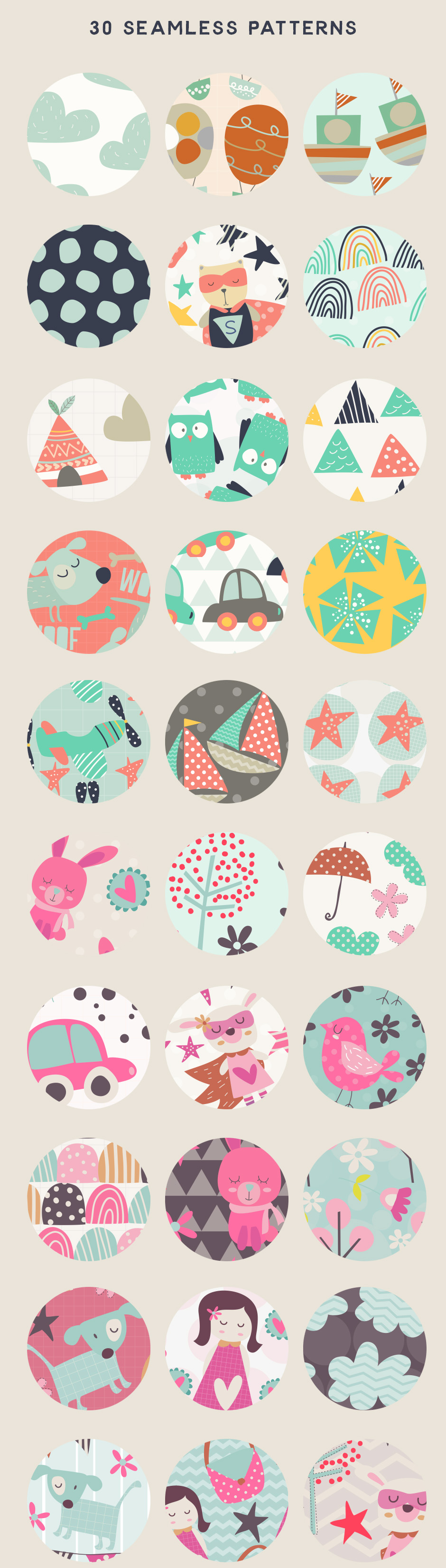 For the Kids Seamless Patterns example image 2