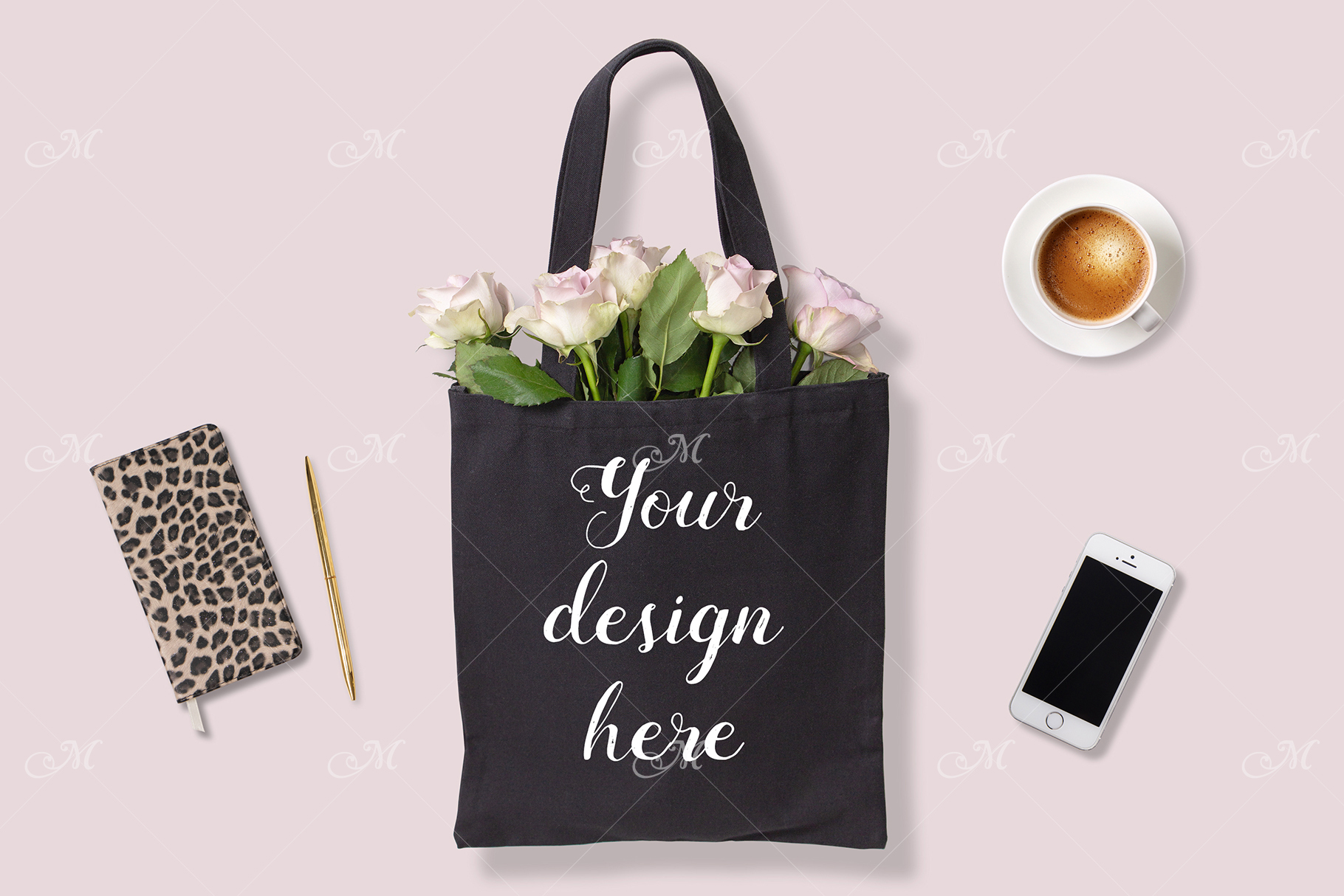Black Tote Bag w Roses. PSD Mock up example image 1