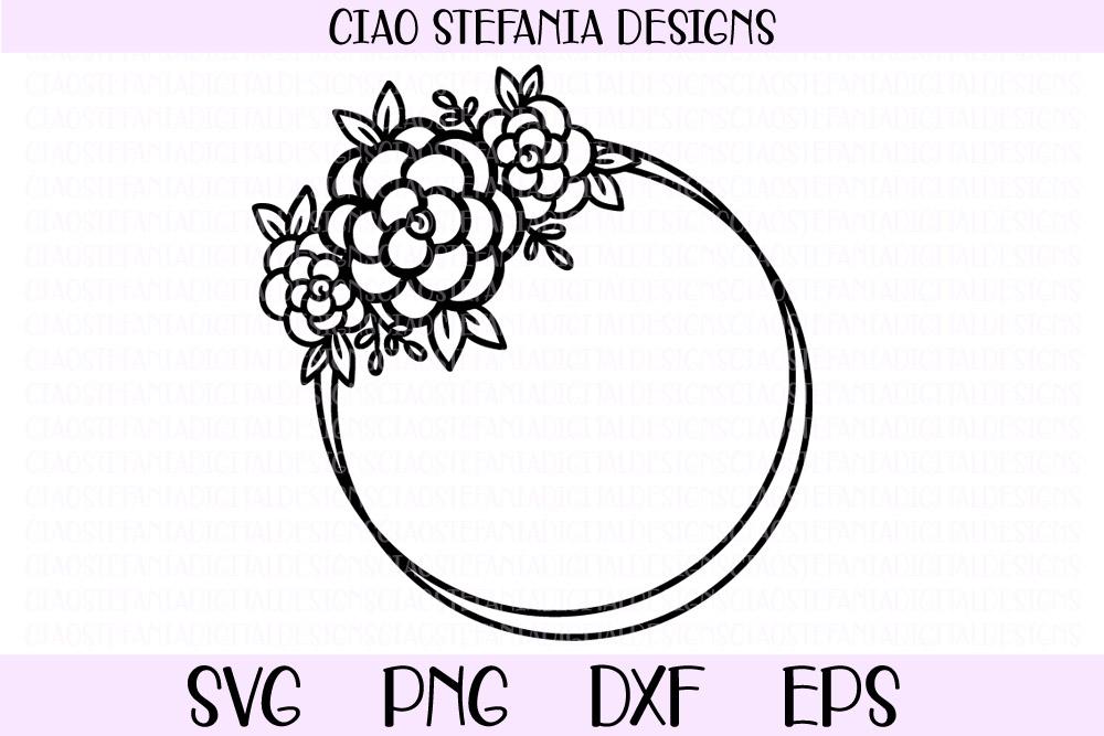 Flower Geometric Circle Frame Wedding SVG PNG DXF EPS Cut example image 1