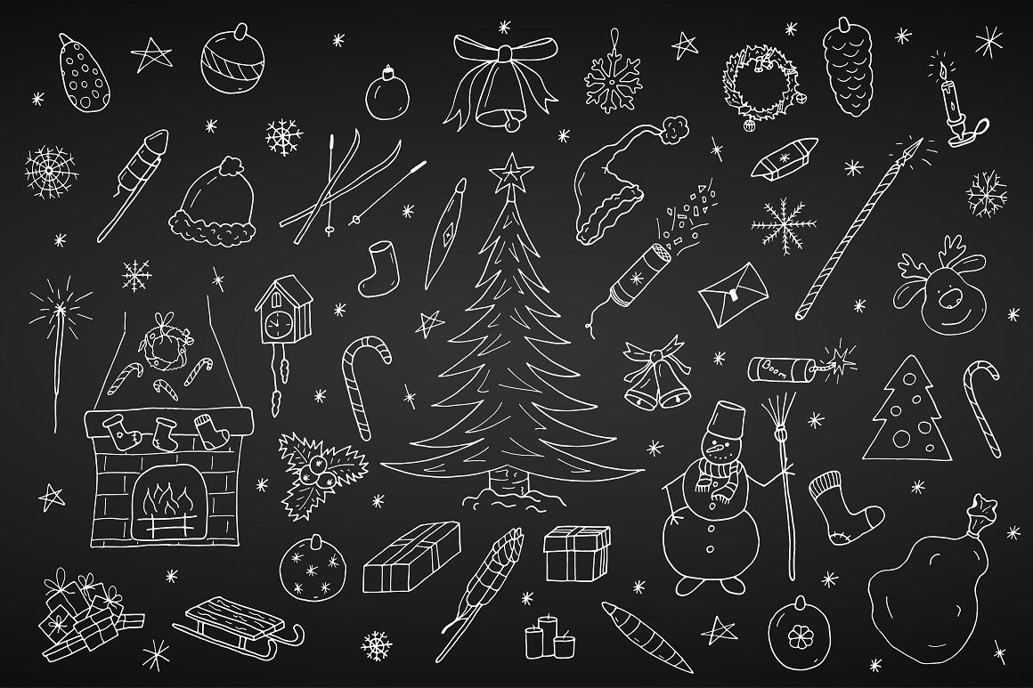 Hand drawn christmas elements set. example image 5