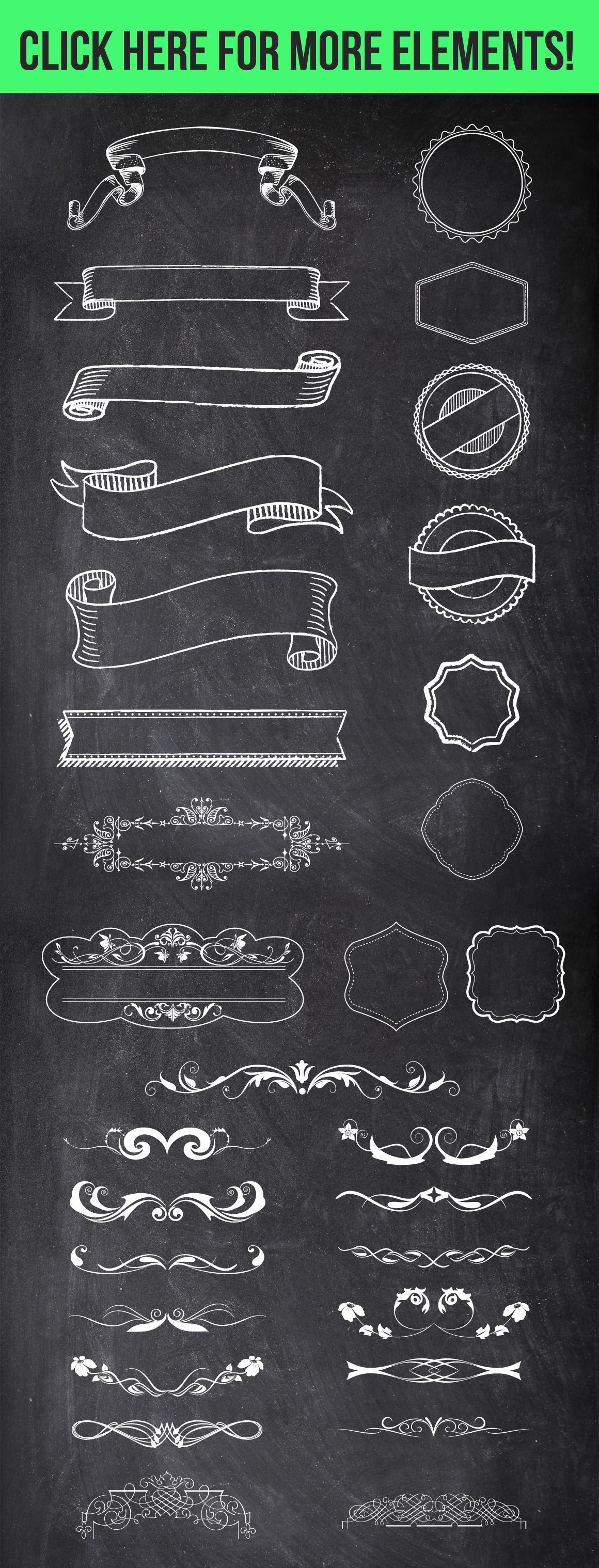 100 Chalk Elements Mega Bundle example image 4