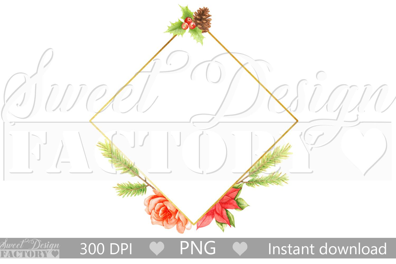 Christmas Frame.Watercolor Christmas Frame