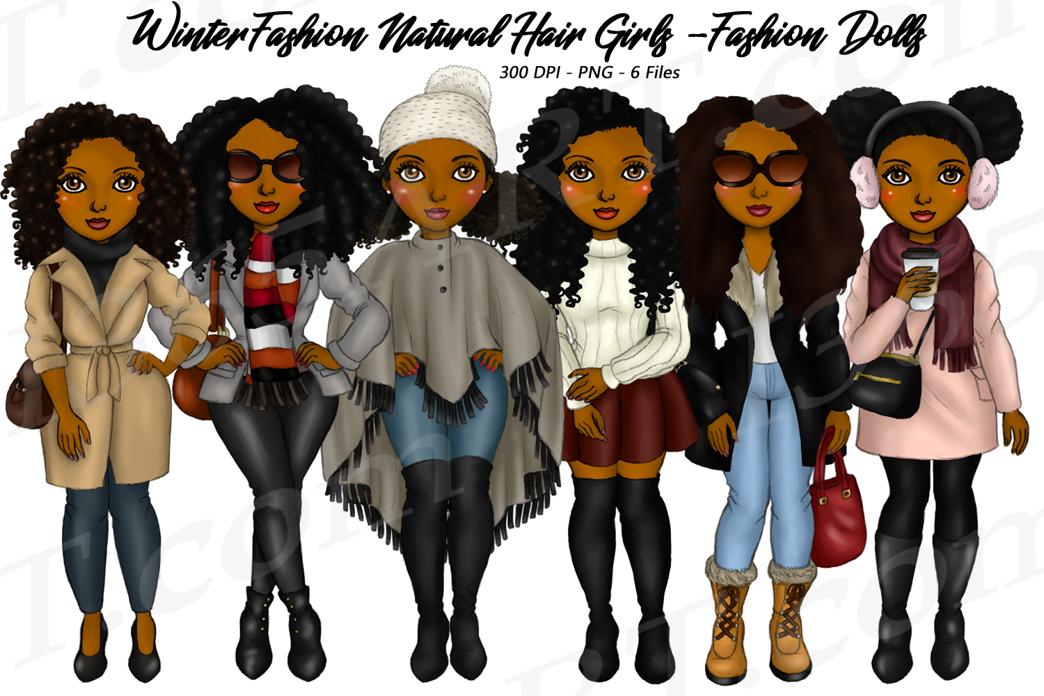 Winter Fashion Girls Black Natural Hair Planner Clipart example image 1