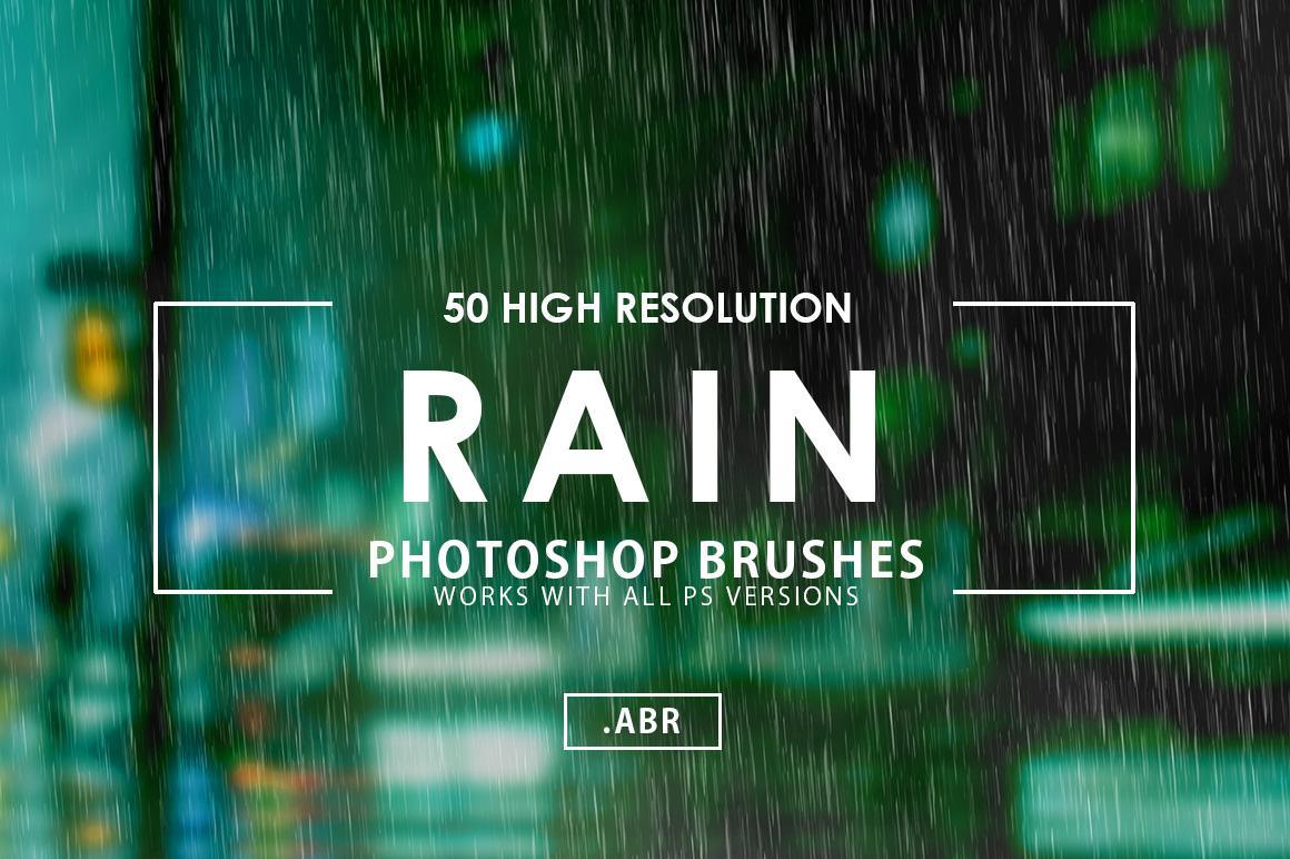 50 Rain Photoshop Brushes example image 1
