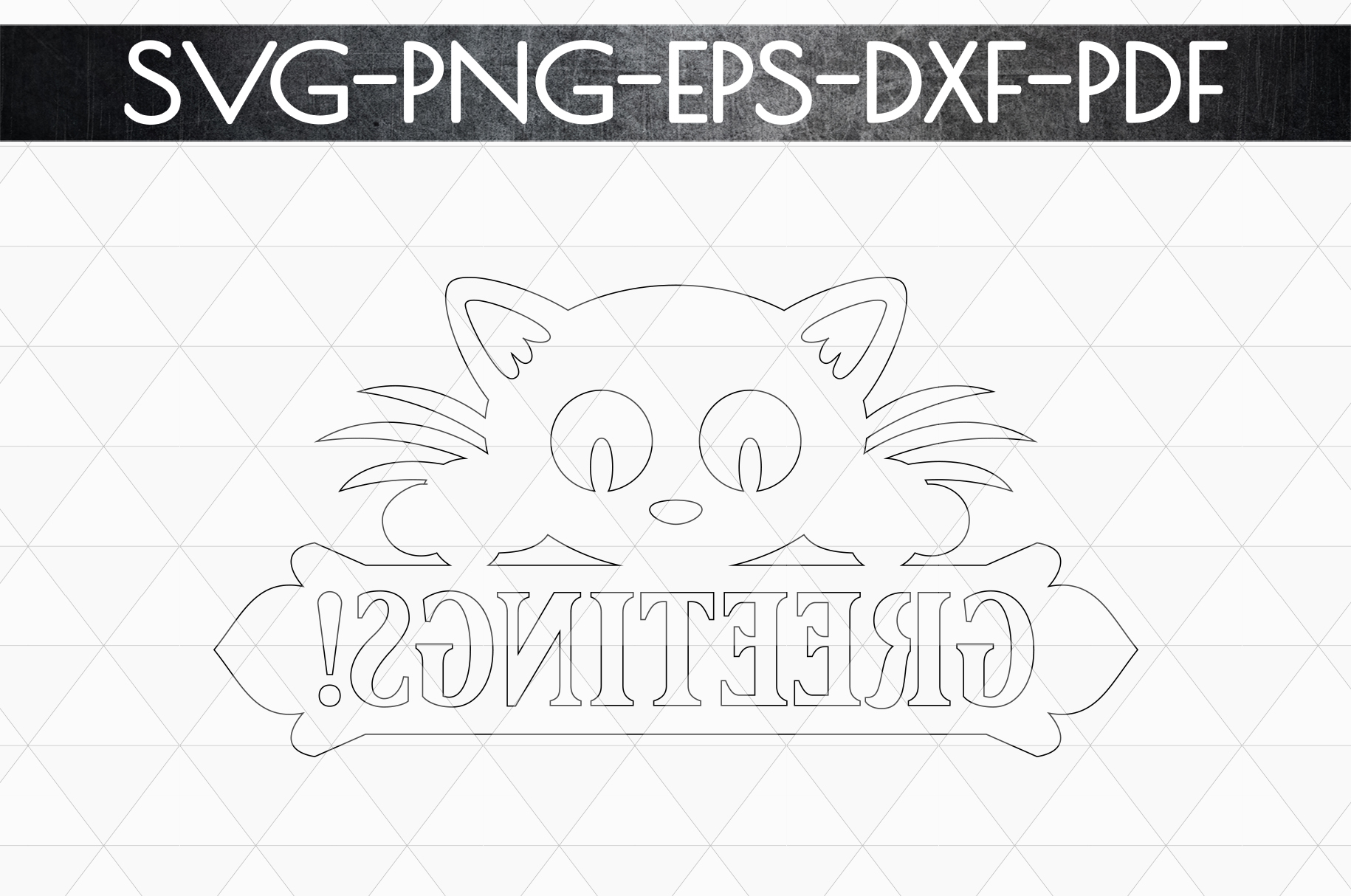 Greetings Sign Papercut Template, Cat House Decor, SVG, DXF example image 5