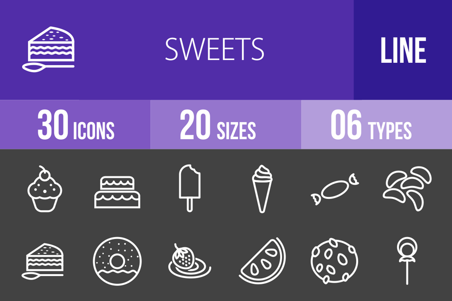 30 Sweets & Confectionery Line Inverted Icons example image 1