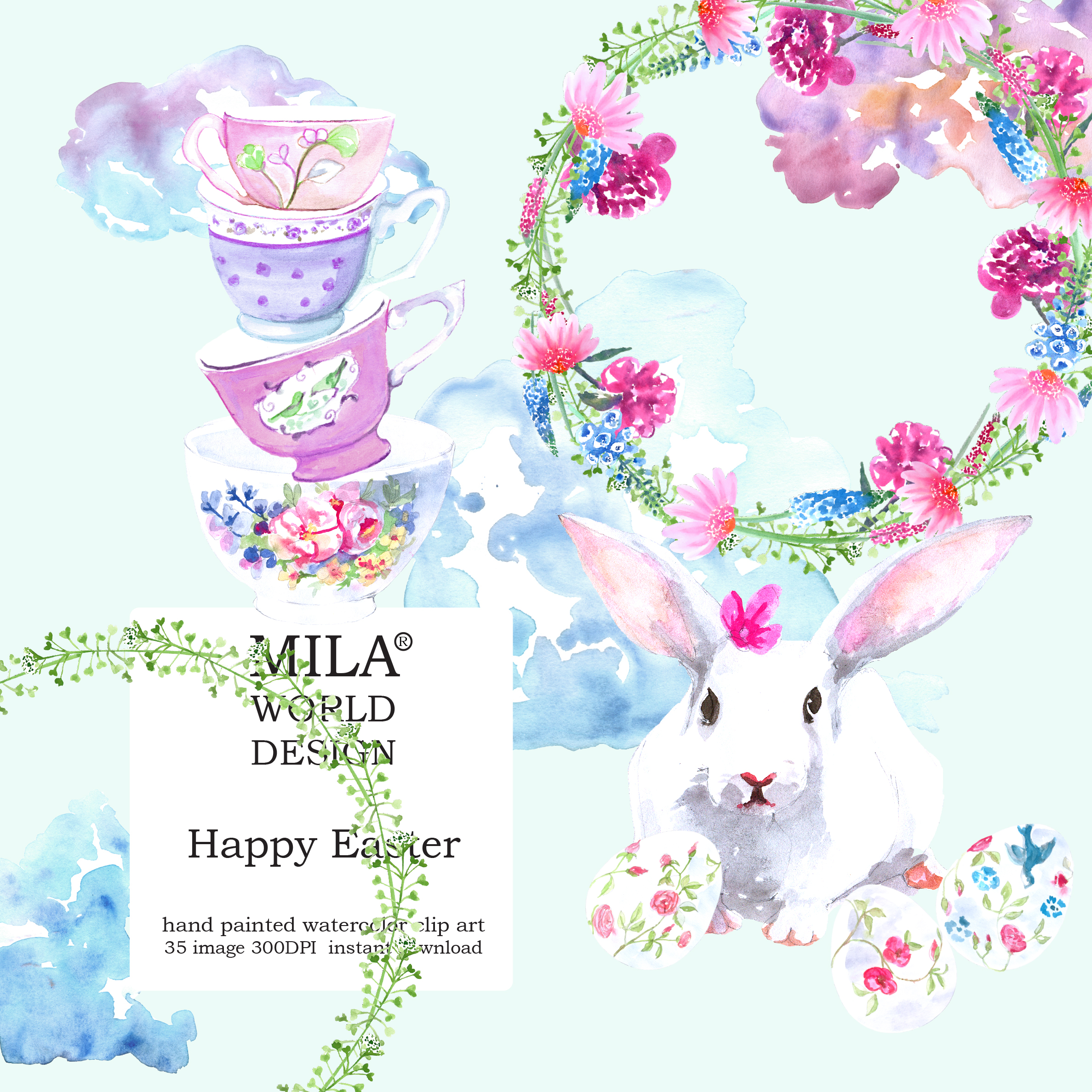 Watercolor Easter clipart example image 8