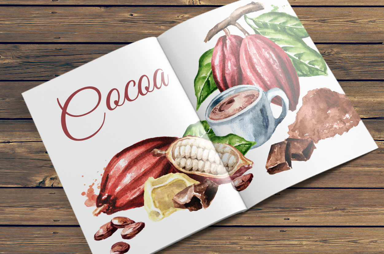 Cocoa. Watercolor collection example image 10