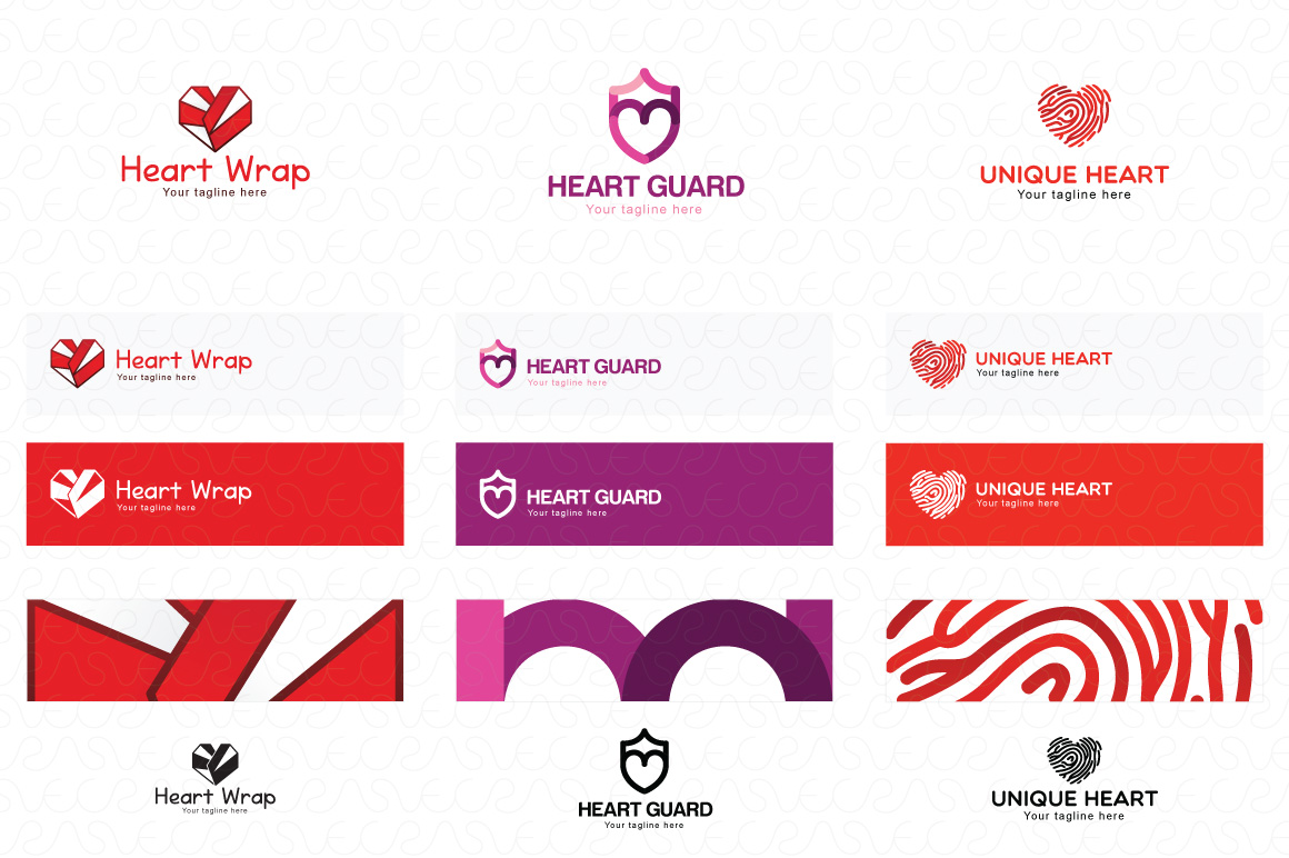 Heart Shape & Love Symbol Logo Templates Pack of 32 example image 3