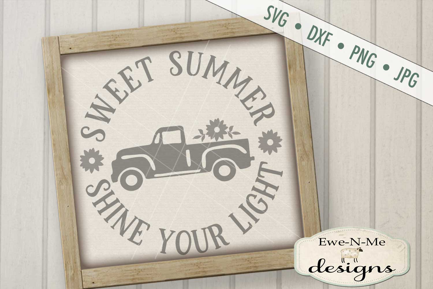 Sweet Summer Shine Your Light Vintage Truck SVG DXF Files example image 1