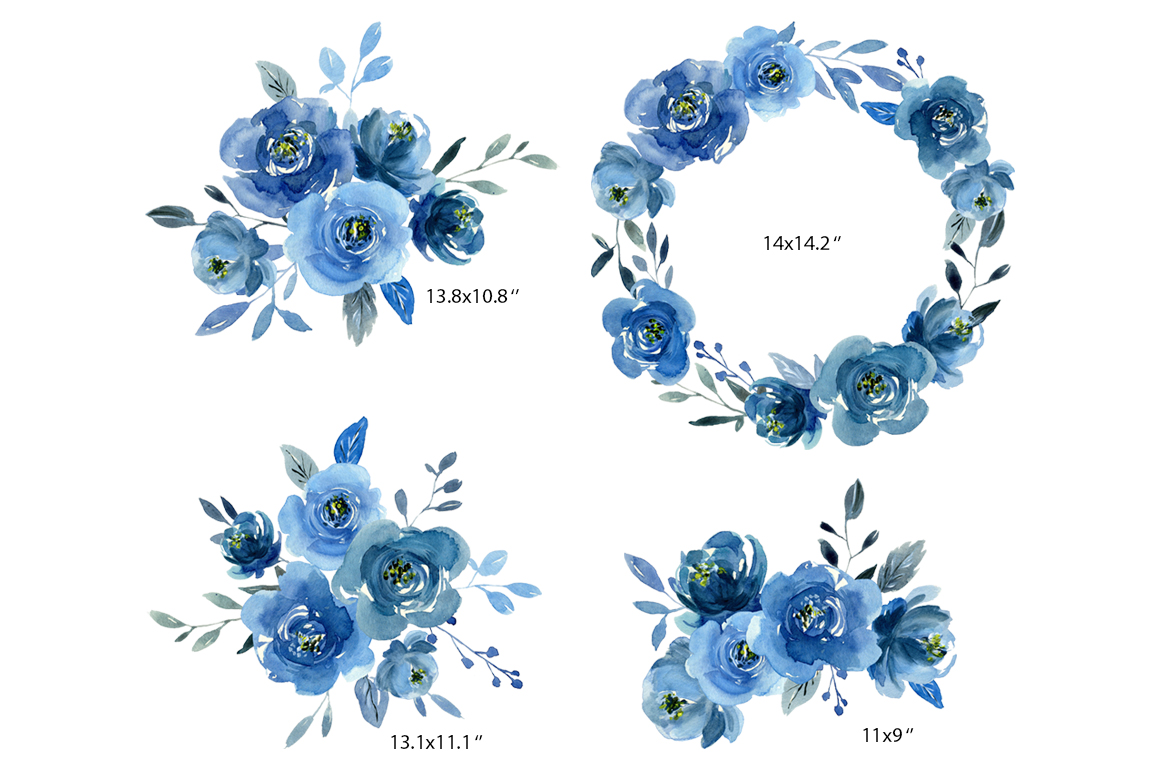 Watercolor indigo blue flowers roses, bouquets and a wreath example image 3