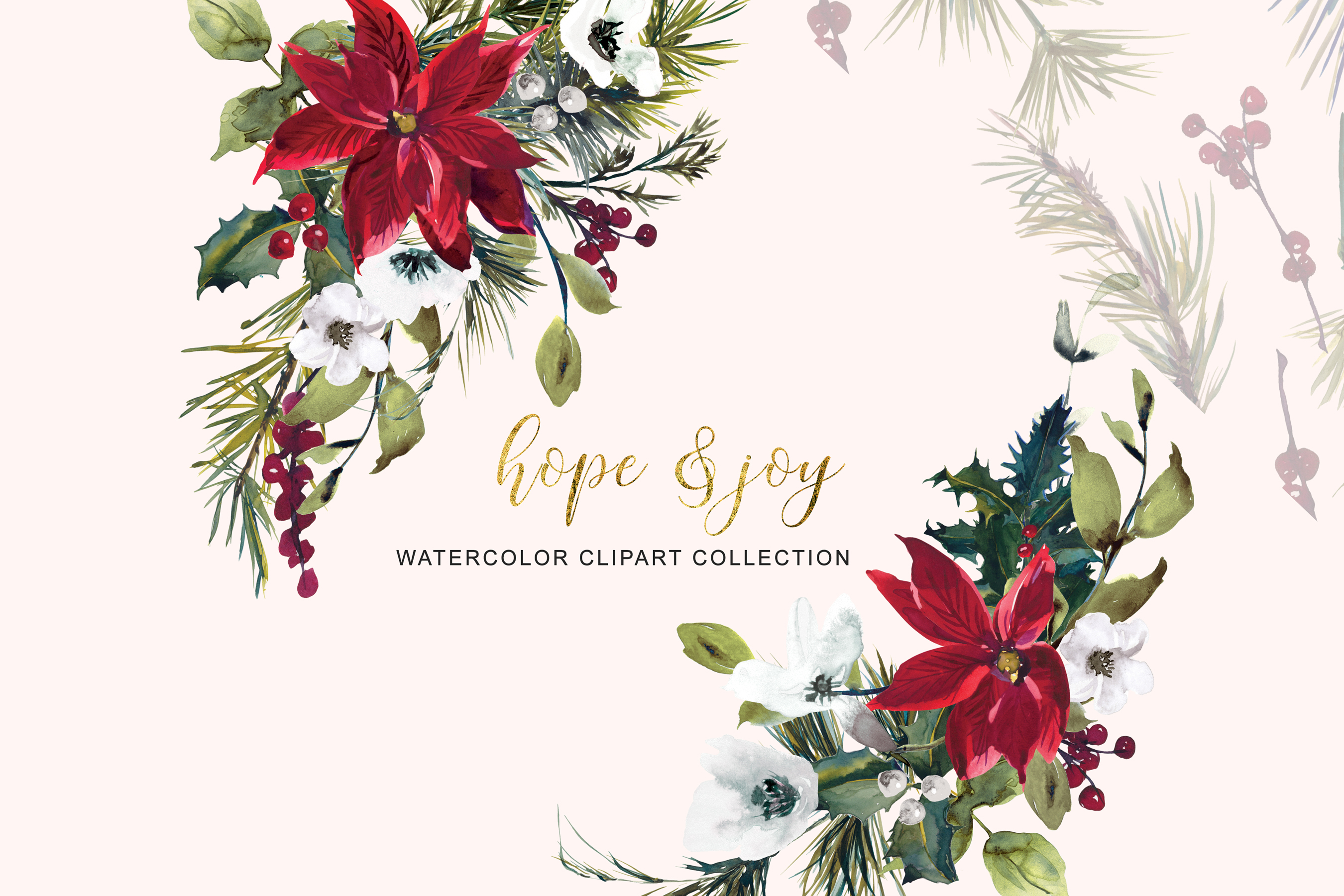 Watercolor Poinsettia Christmas Clipart example image 8