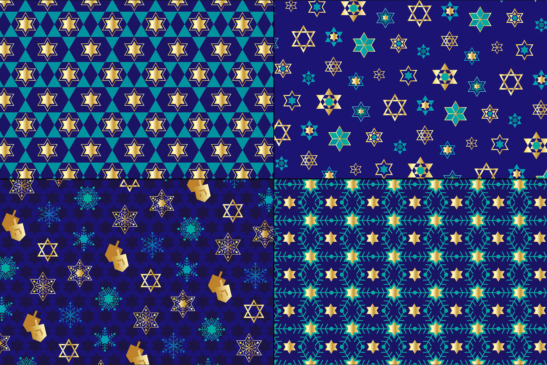 Blue Gold Hanukkah Patterns example image 3