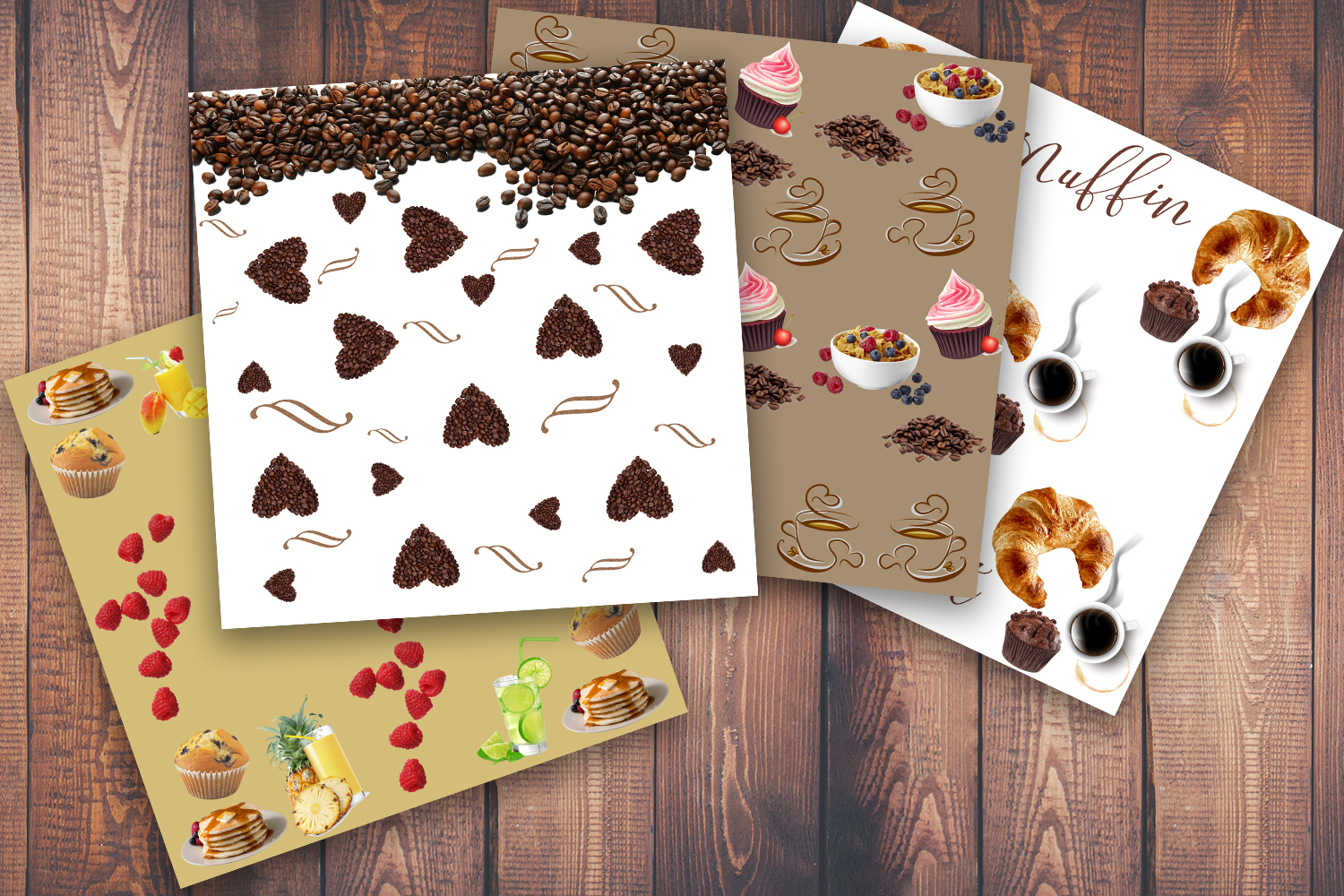 Coffee, Coffee cup, Muffin, scrapbook paper, scrapbook, SALE example image 2