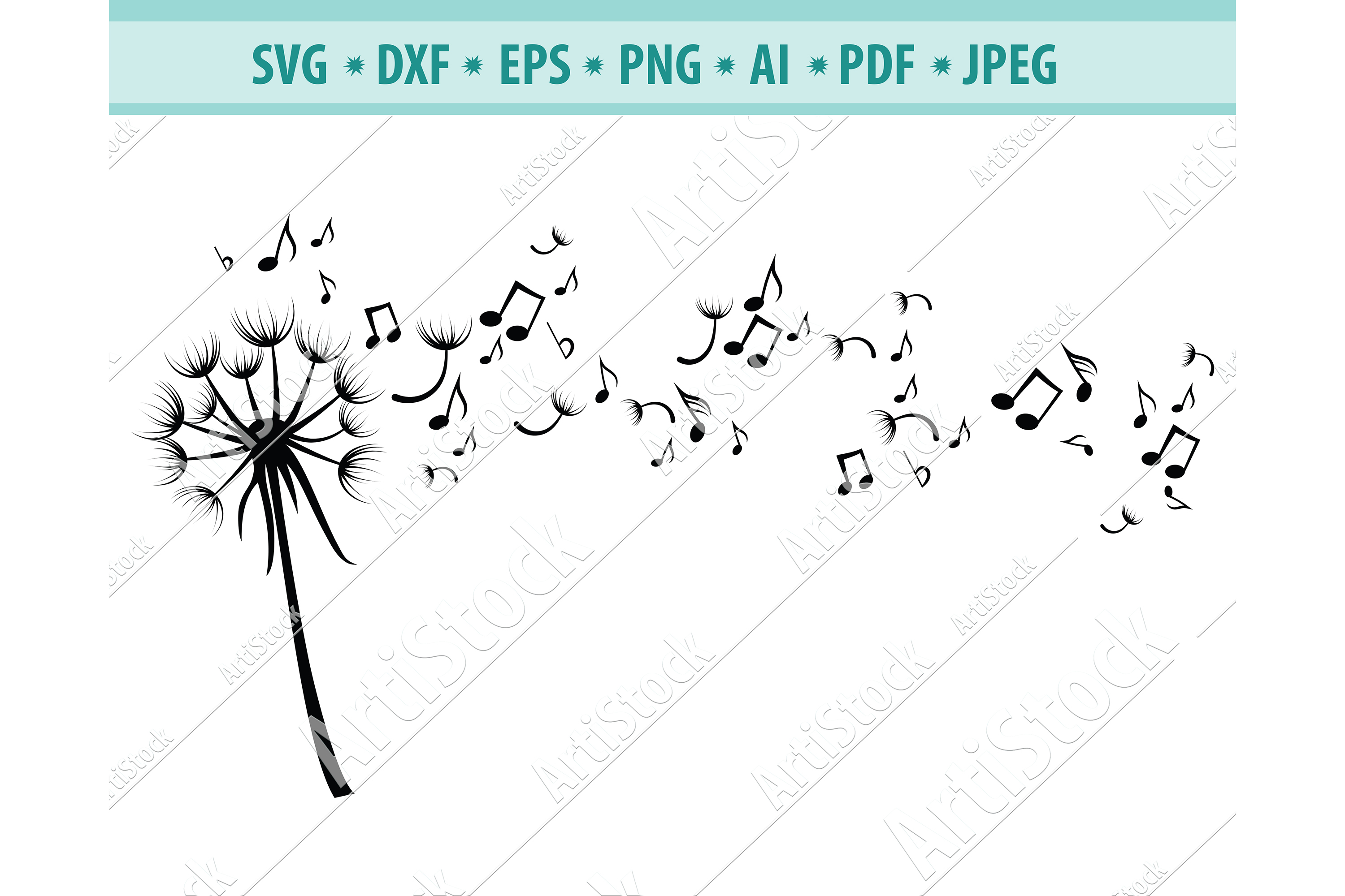 Dandelion with Notes SVG, Music svg, Notes Dxf, Png, Eps example image 1