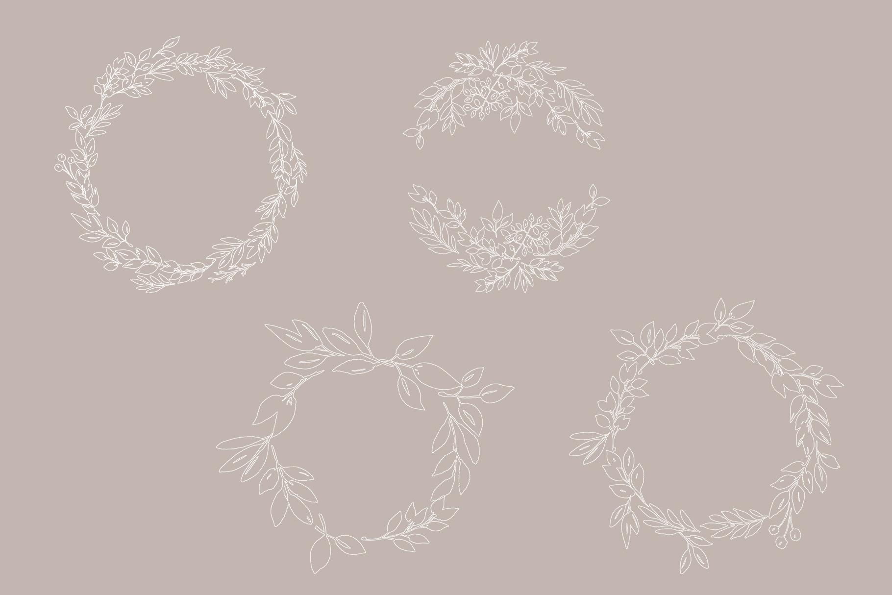 Foliage doodles clip art set, hand drawn foliage, hand drawn example image 6