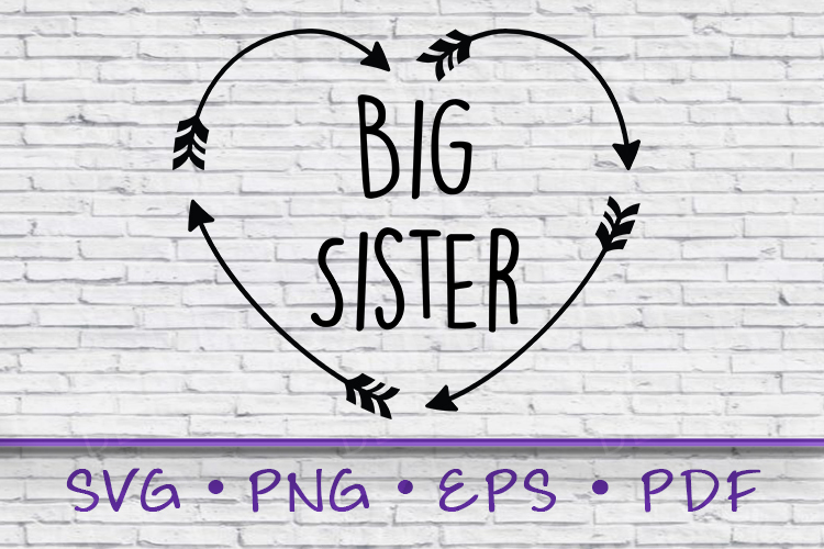 Tribal Heart Arrow, Big Sister Shirt, Big Sister Svg example image 1