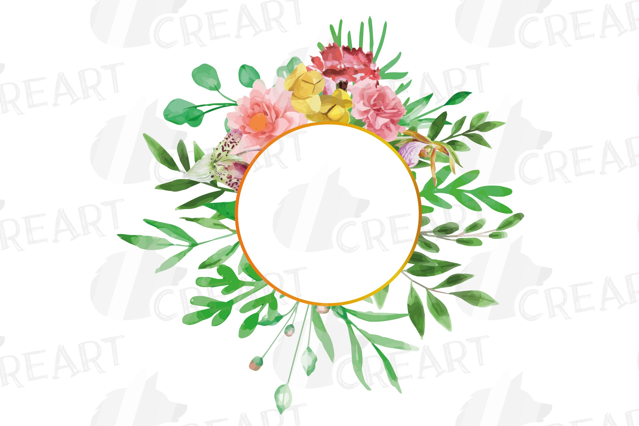 Watercolor floral floral frames and borders clip art pack example image 10