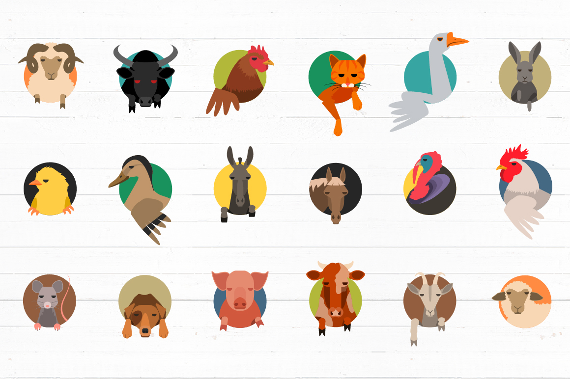Vector Farm animals 36 icons in 2 colors example image 4