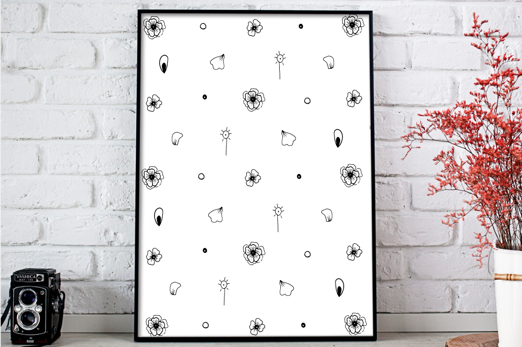 Mini Flowers Ink Art, A1, SVG example image 3