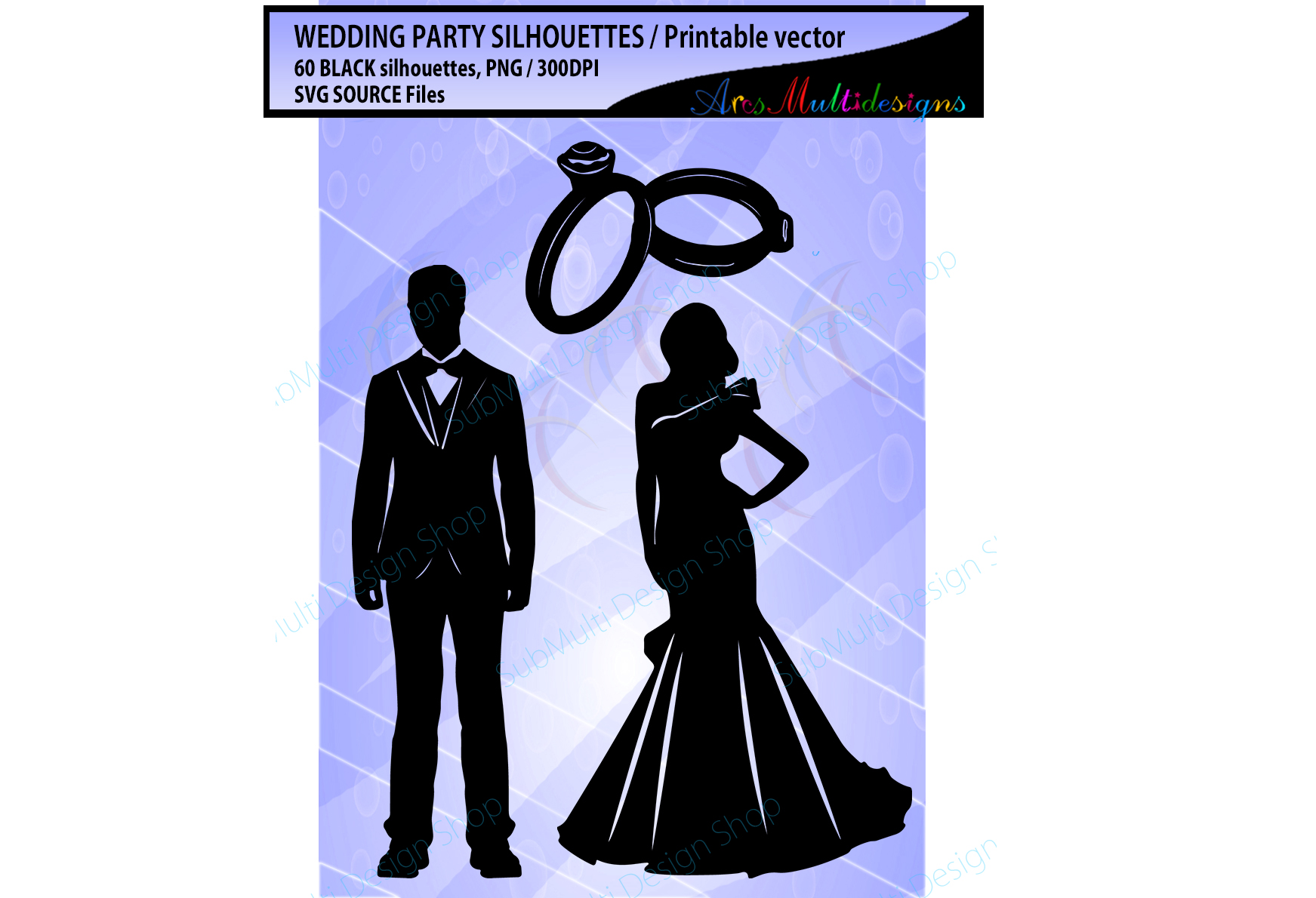 Wedding silhouette SVG / Wedding party silhouette 60 image example image 3