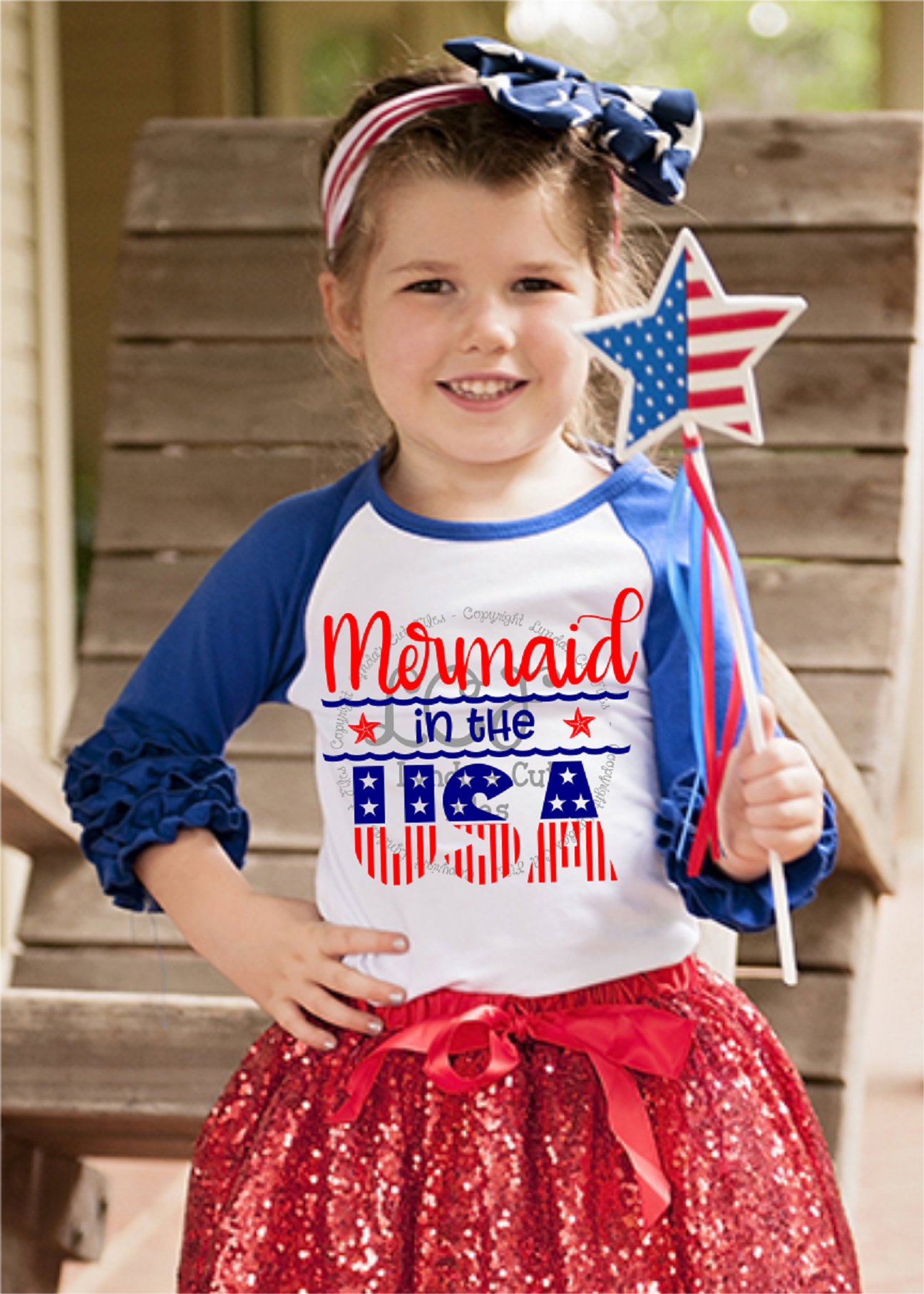 Mermaid in the USA//Summer//SVG//DXF//EPS example image 2